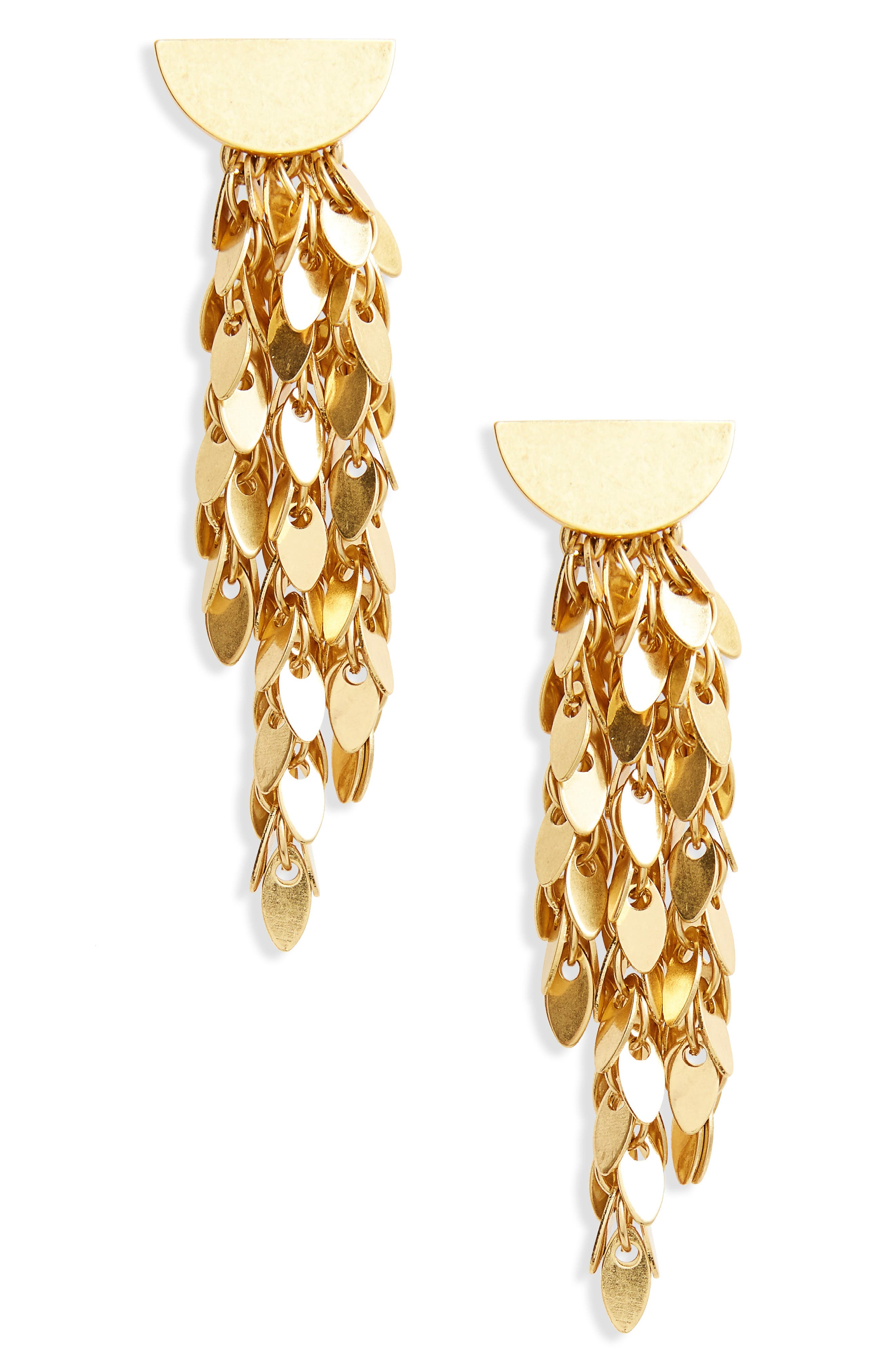 Oval Disc Fringe Drop Earrings,                         Main,                         color, Gold Ox