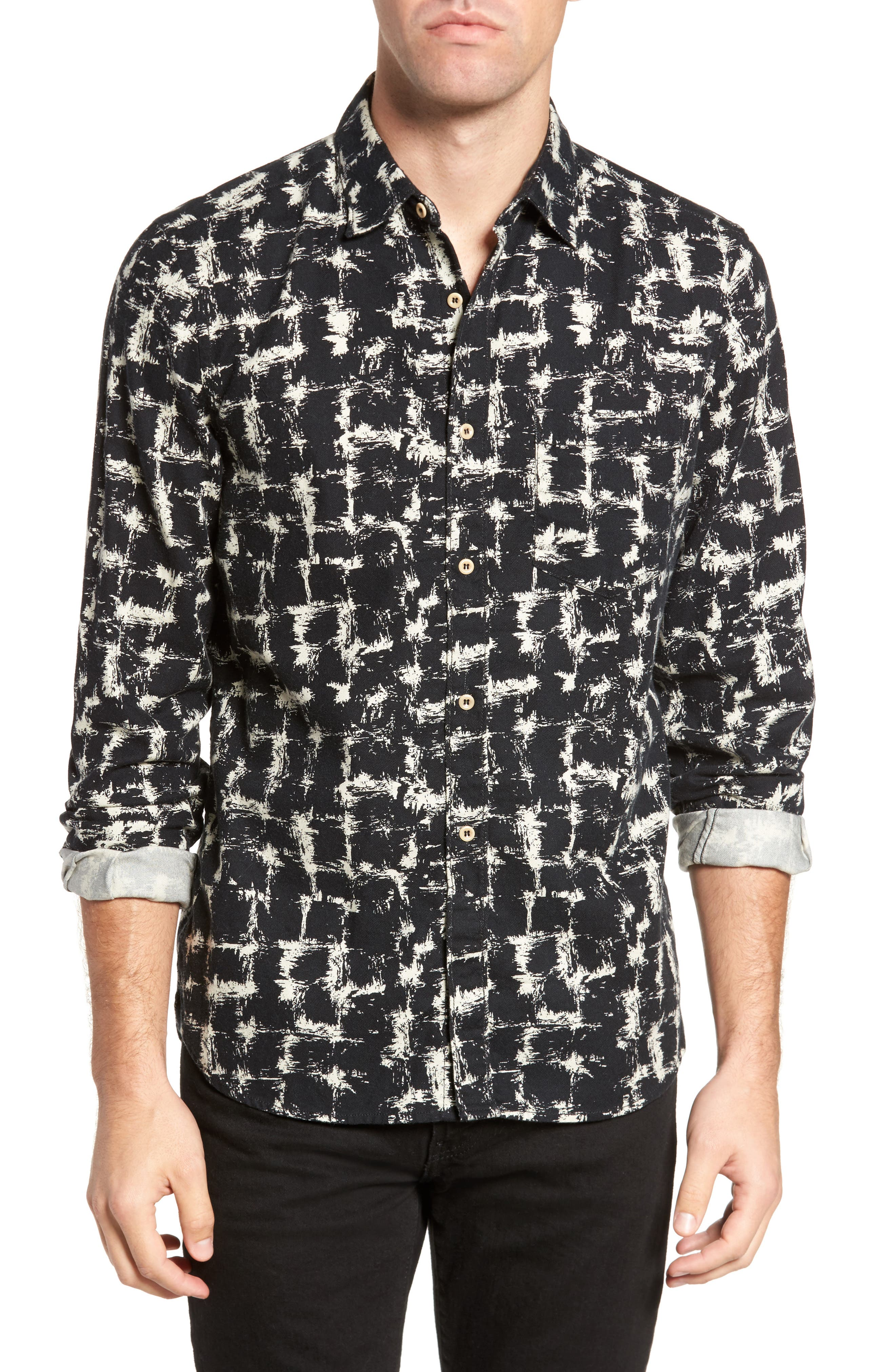 Chaos Check Flannel Shirt,                         Main,                         color, Clay/ Black