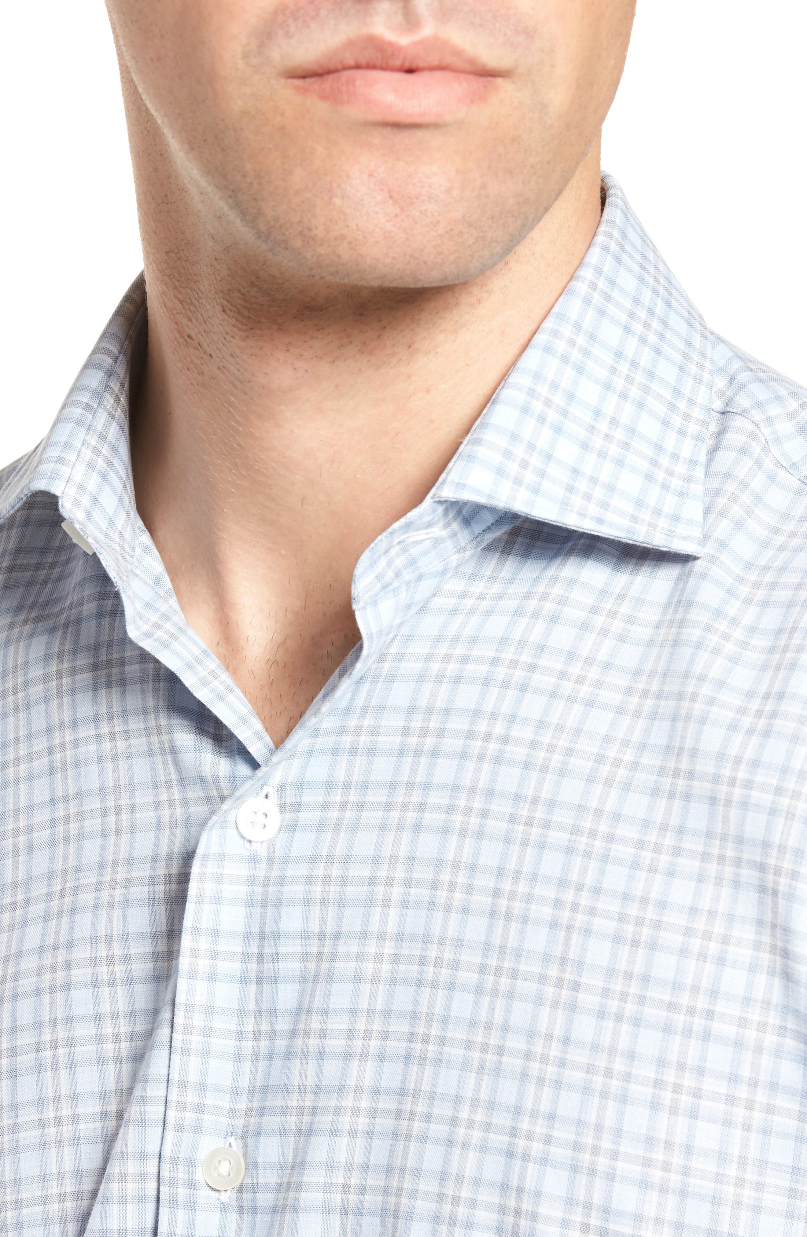 Plaid Sport Shirt,                             Alternate thumbnail 4, color,                             Blue