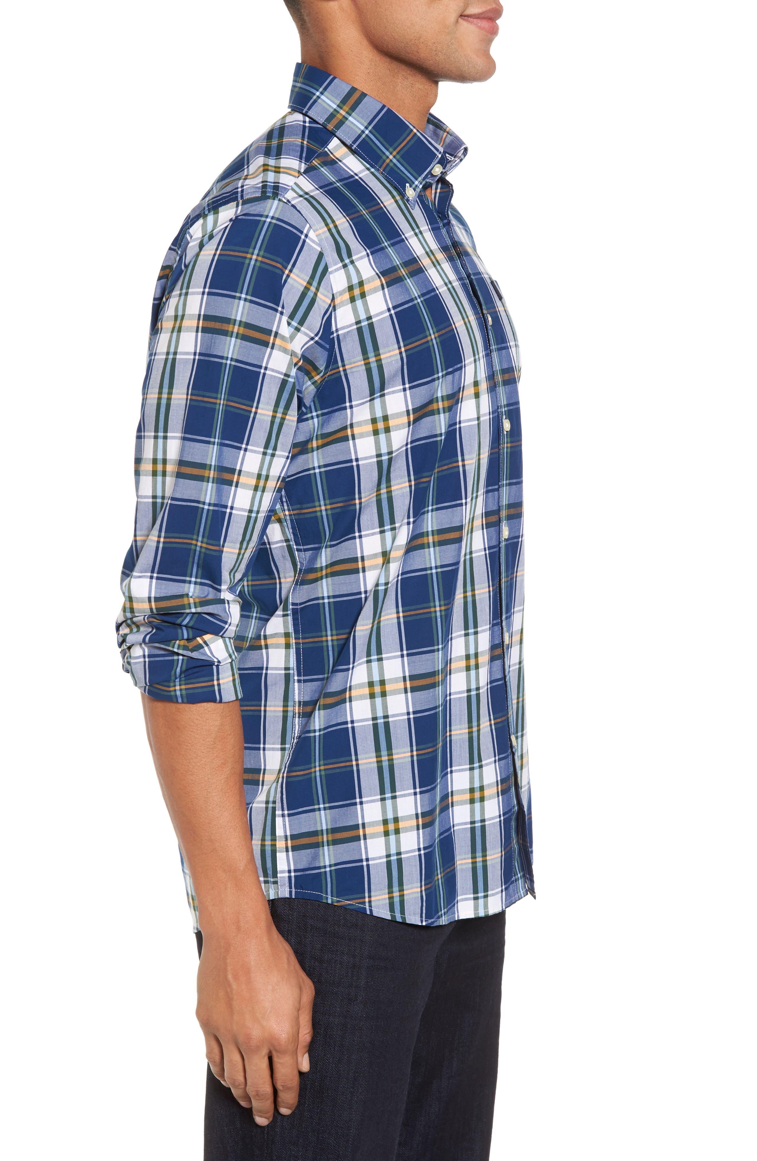 Jeff Trim Fit Plaid Sport Shirt,                             Alternate thumbnail 3, color,                             Deep Blue