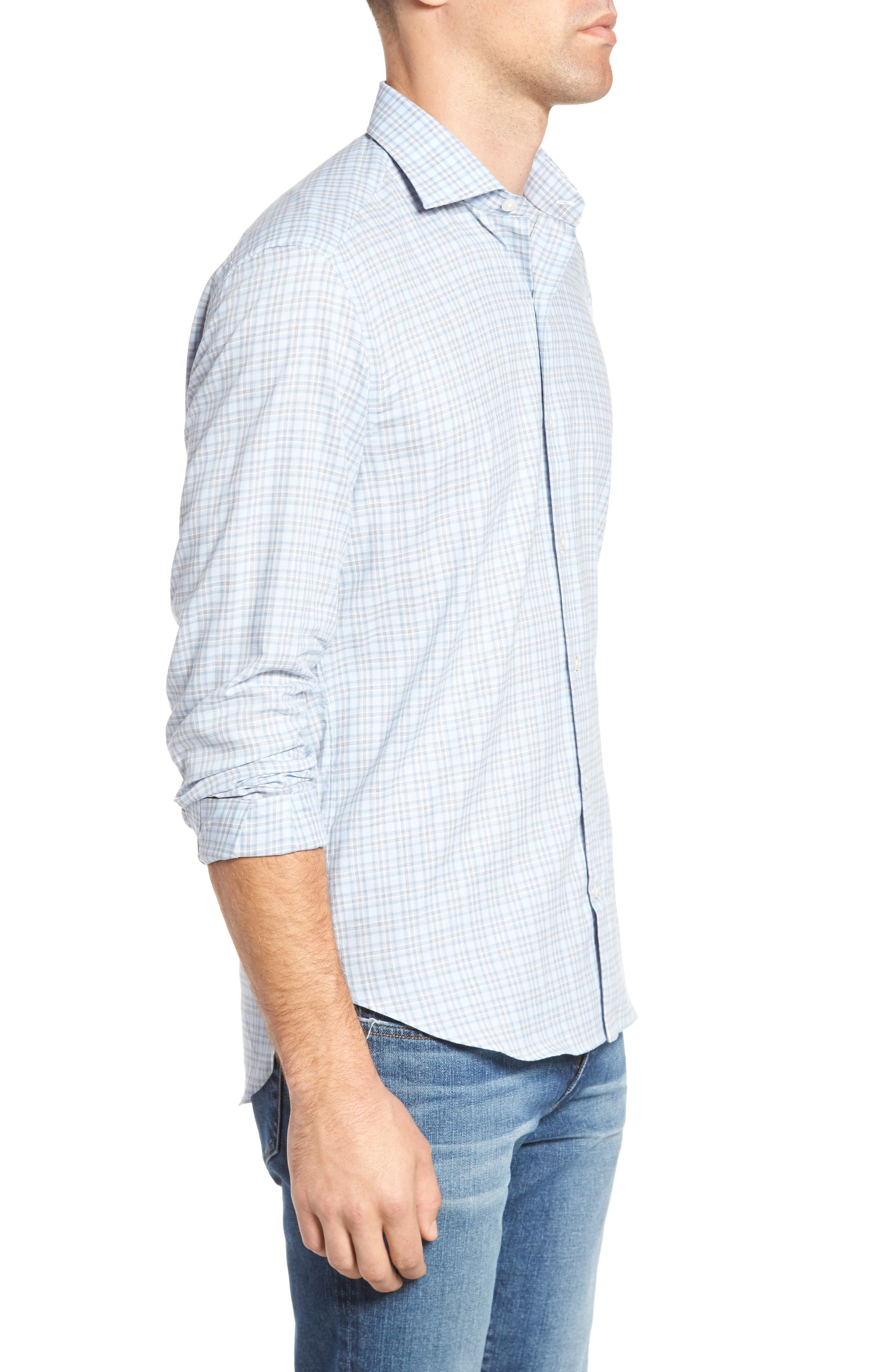Plaid Sport Shirt,                             Alternate thumbnail 3, color,                             Blue