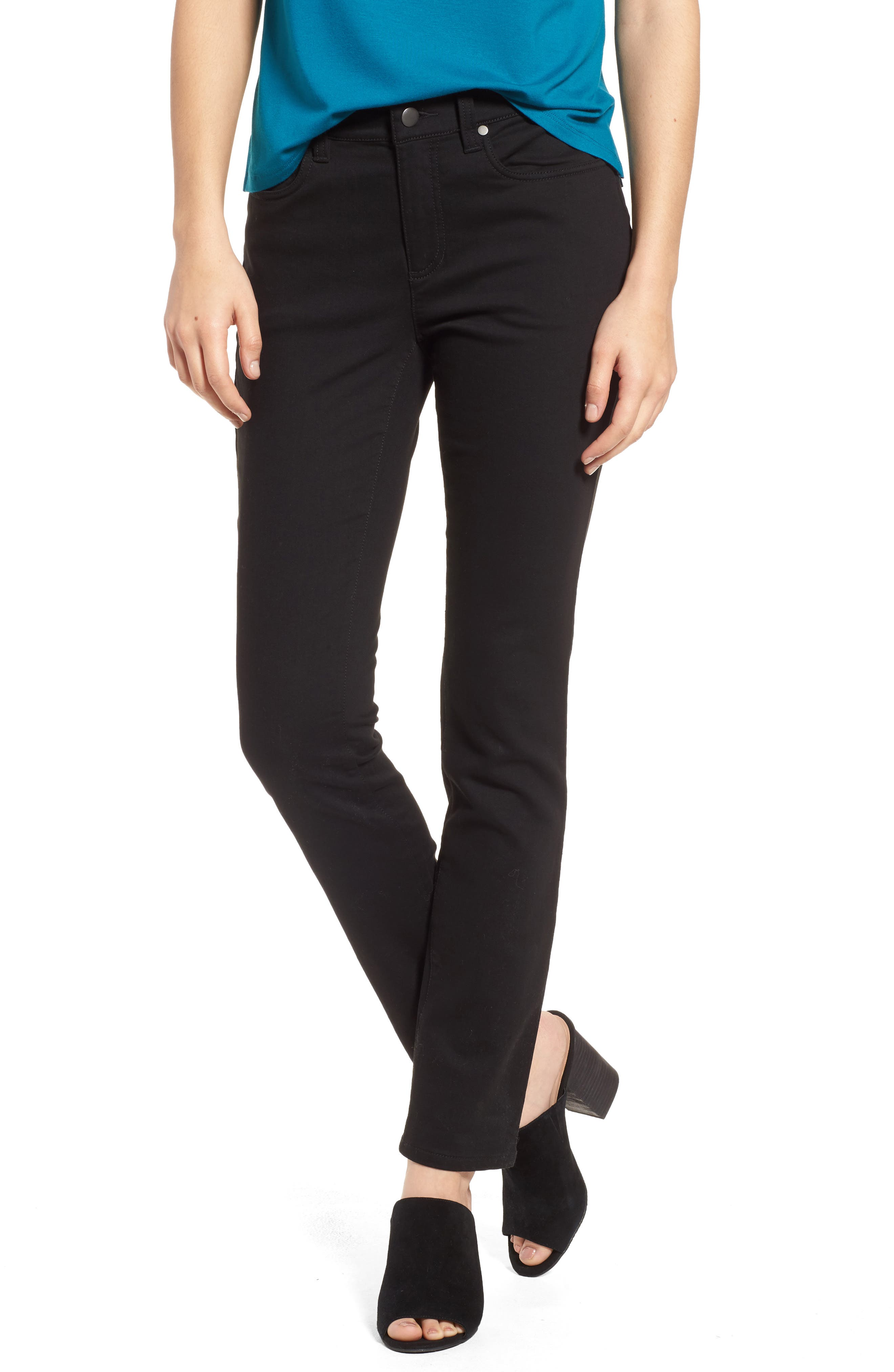 Stretch Organic Cotton Skinny Jeans,                             Main thumbnail 1, color,                             Black