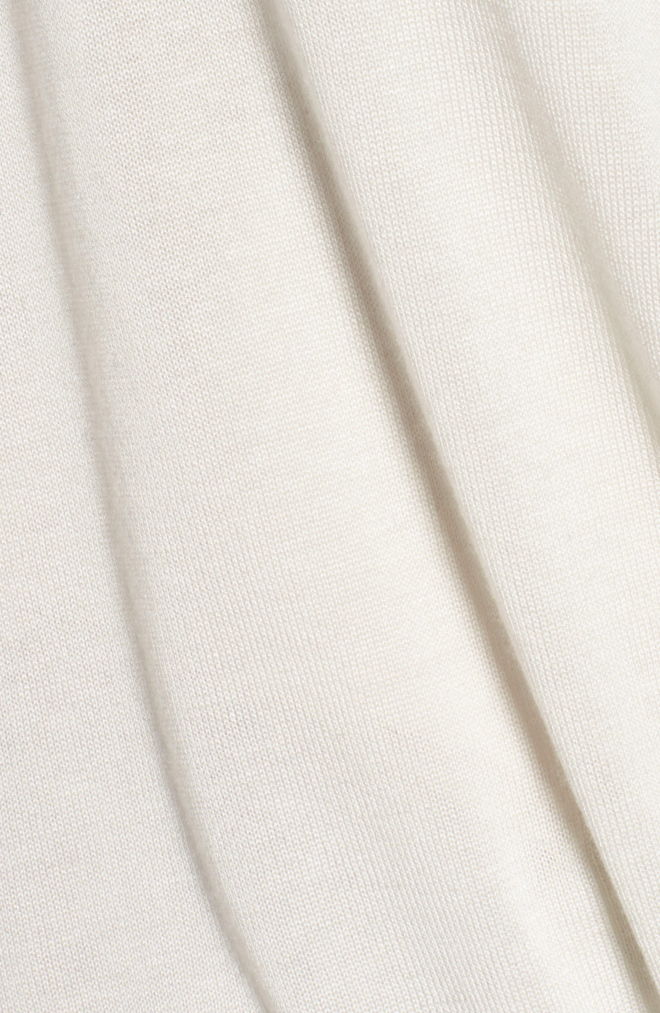 Faux Wrap Tencel<sup>®</sup> Lyocell & Merino Wool Sweater,                             Alternate thumbnail 5, color,                             Bone