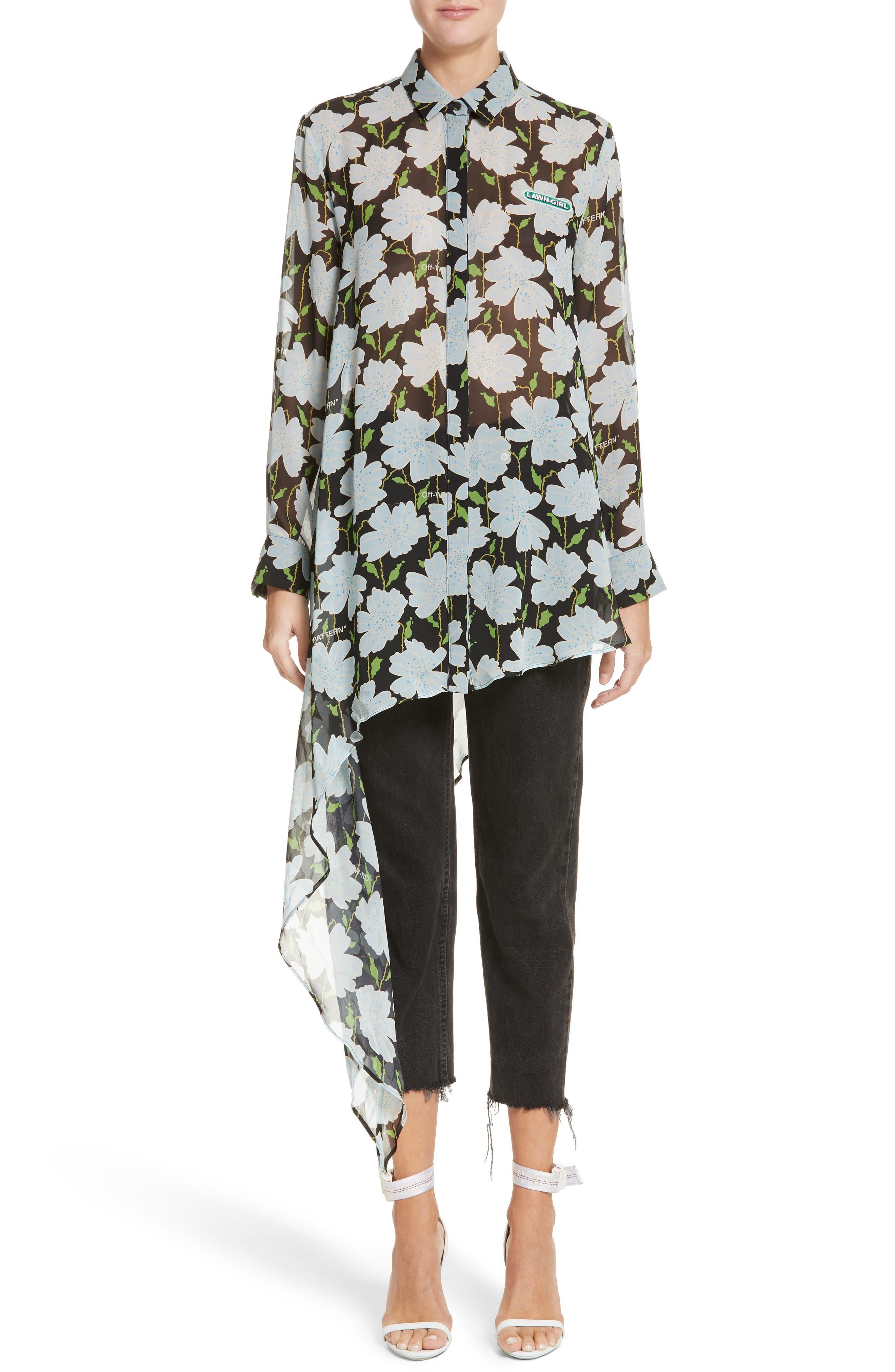Floral Asymmetrical Silk Shirt,                         Main,                         color, All Over/ Green