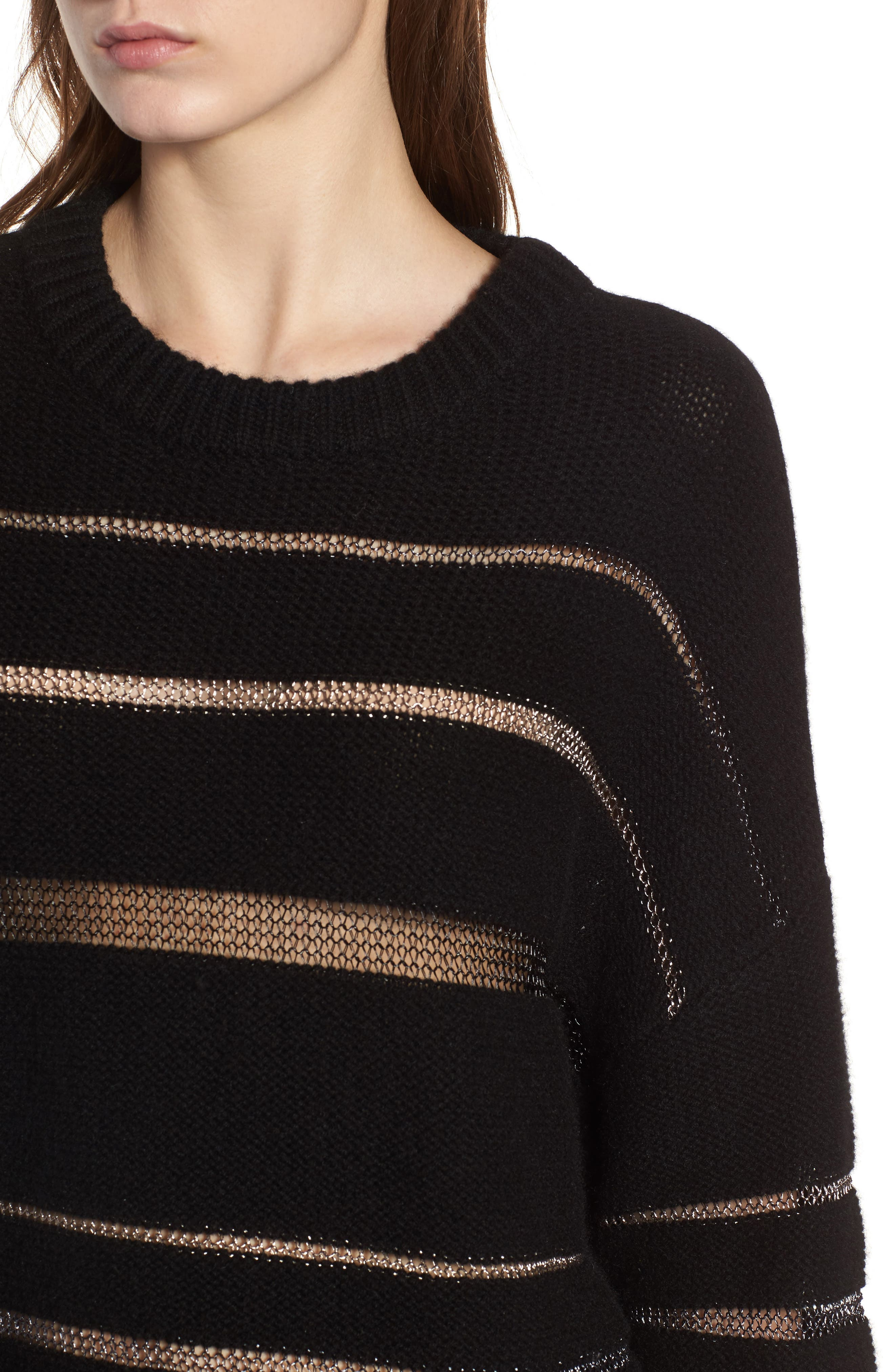 Daphne Stripe Sweater,                             Alternate thumbnail 4, color,                             Milky Way