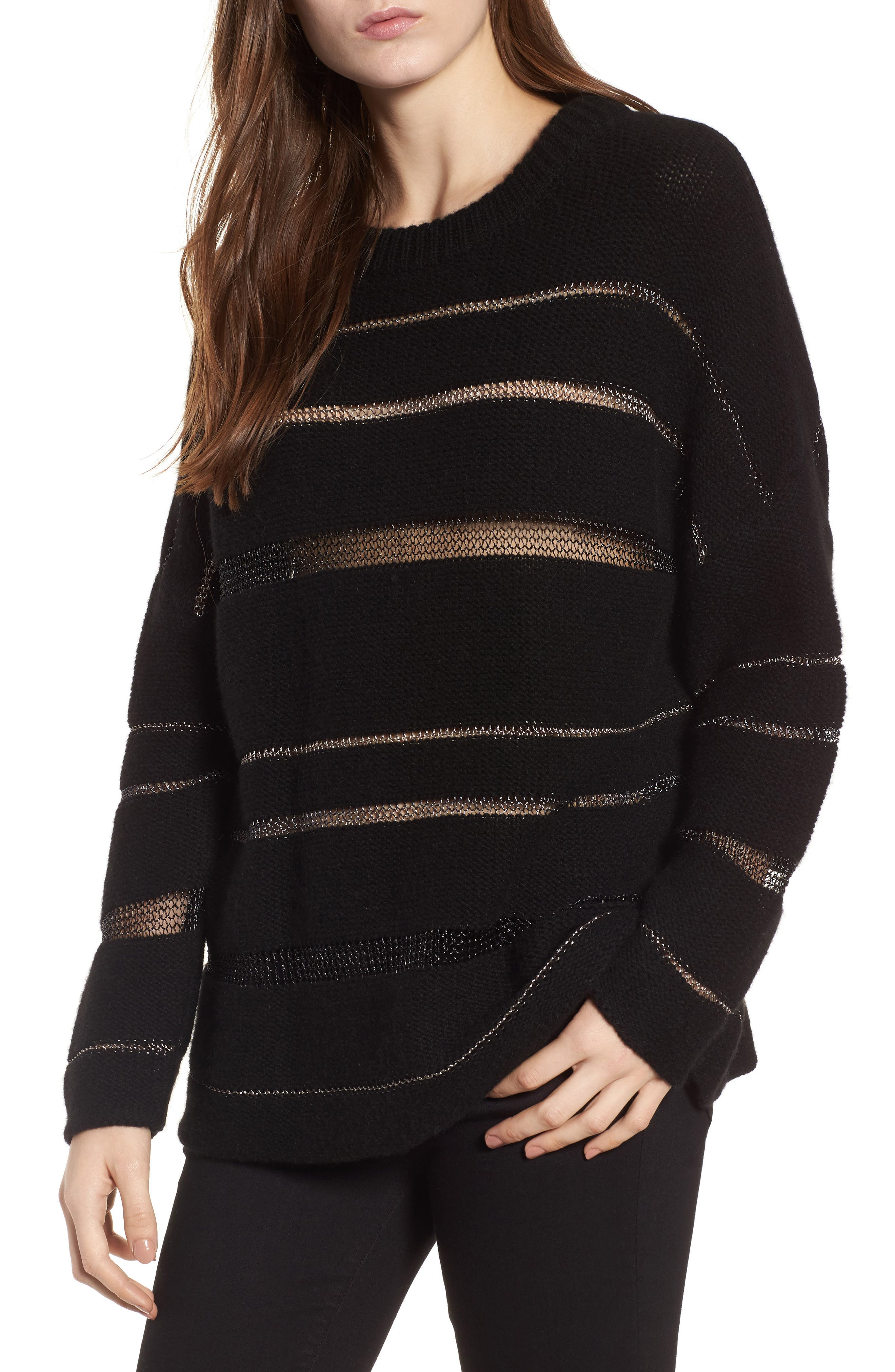 Daphne Stripe Sweater,                             Main thumbnail 1, color,                             Milky Way