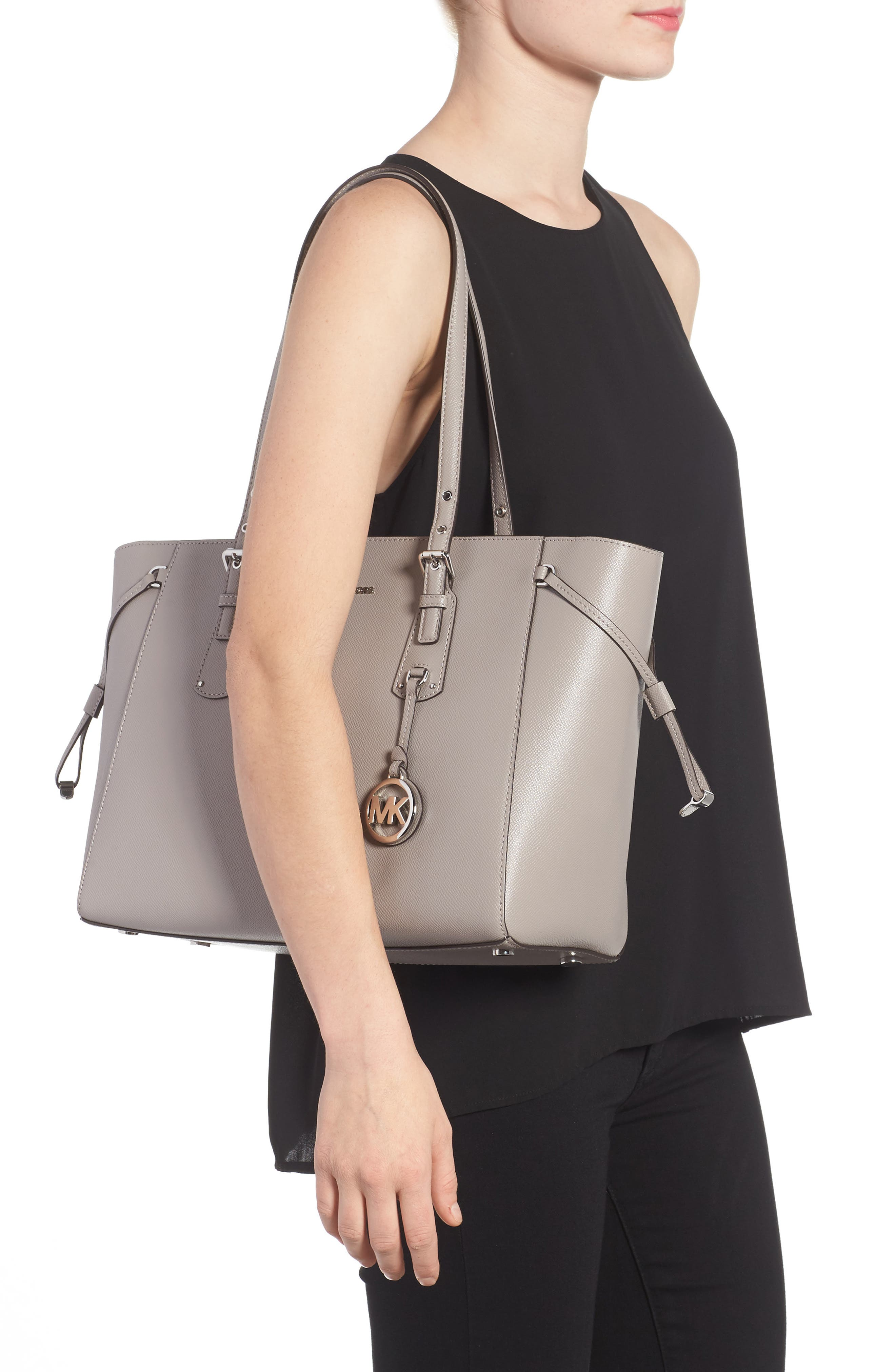 MICHAEL Michael Kors Voyager Leather Tote,                             Alternate thumbnail 2, color,                             Pearl Grey