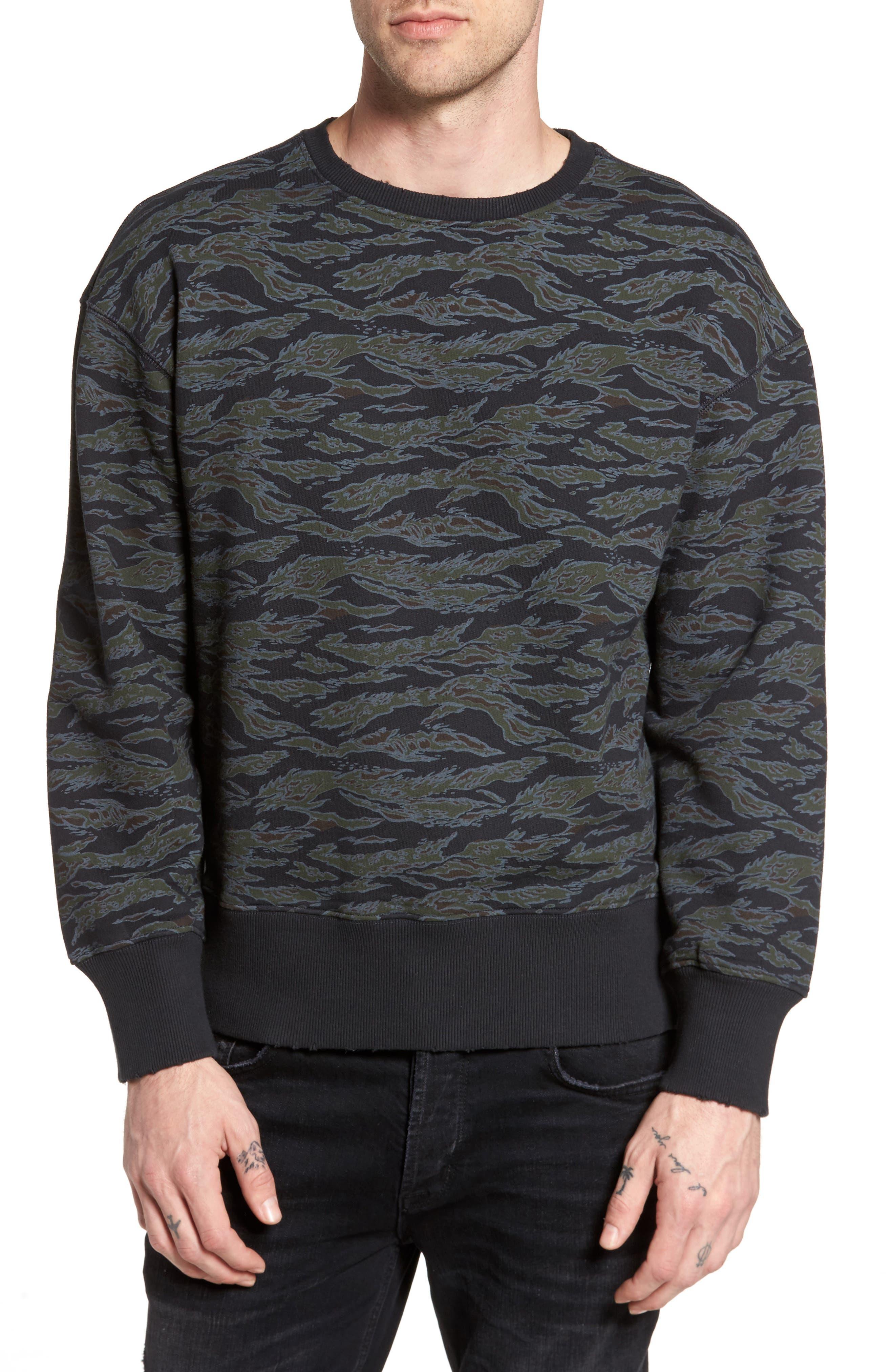 Print Sweatshirt,                         Main,                         color, Navy- Black Tiger Camo
