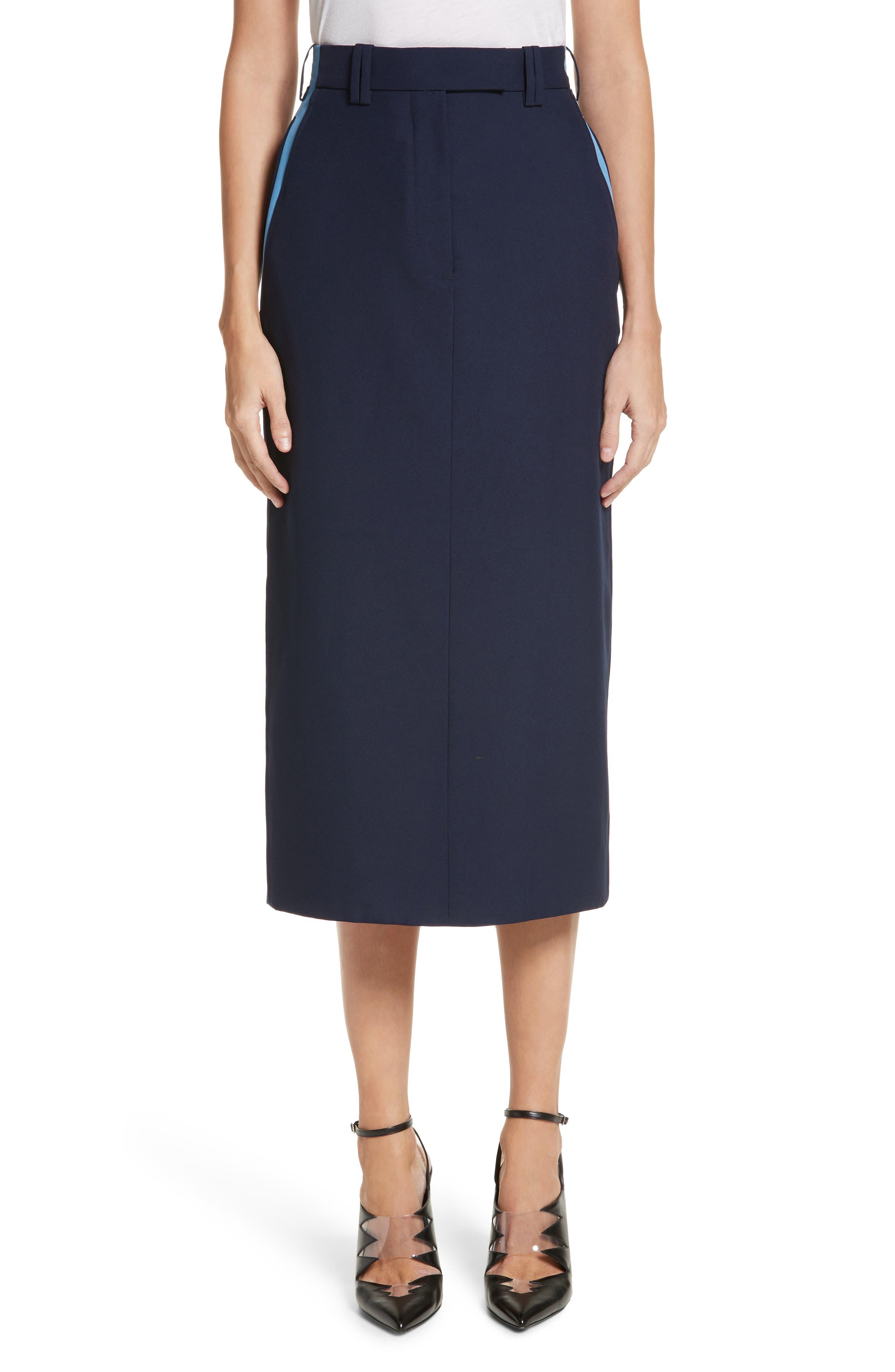 Uniform Midi Skirt,                             Main thumbnail 1, color,                             Marine