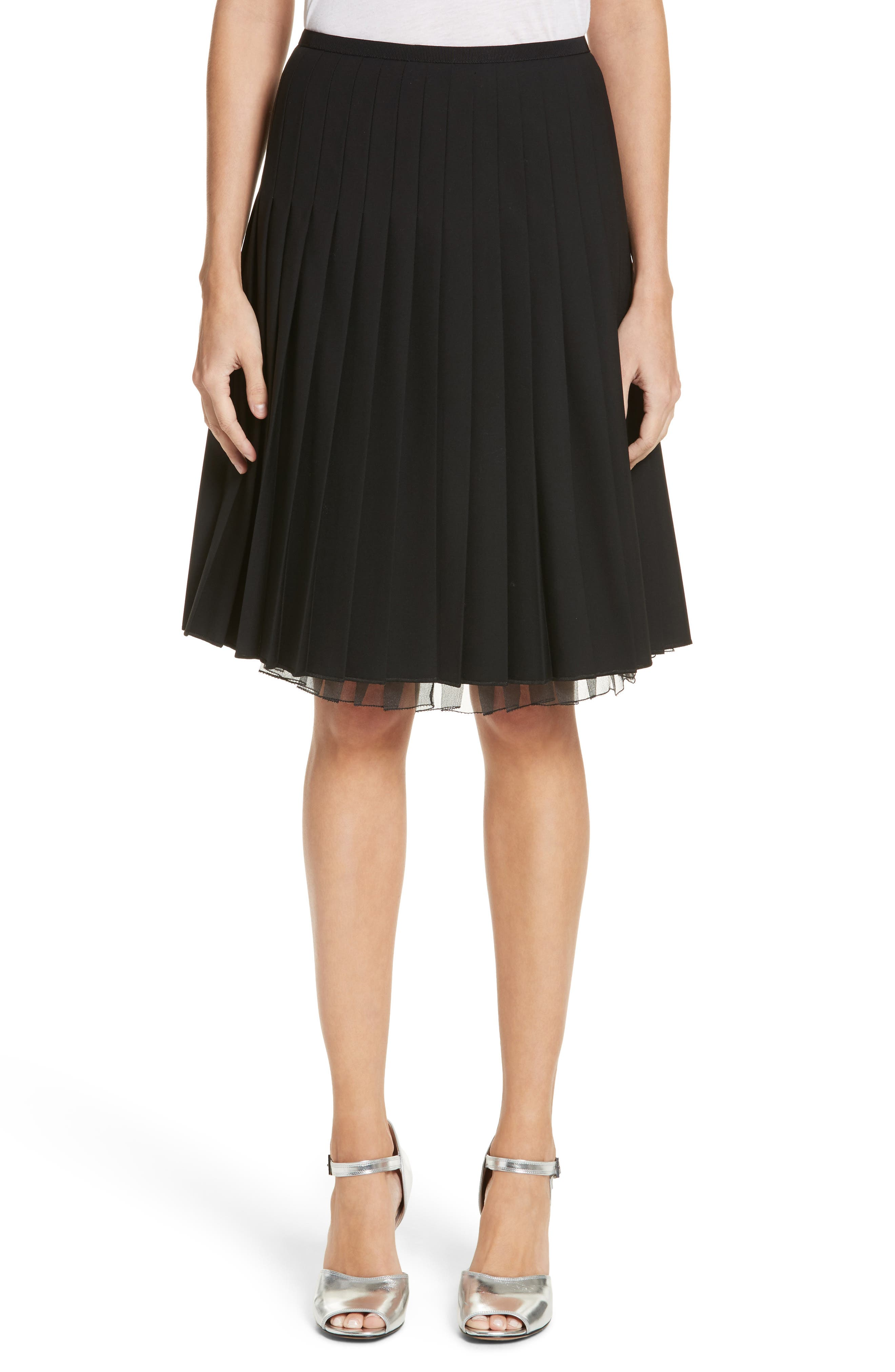 Pleated Stretch Wool Skirt,                         Main,                         color, Black