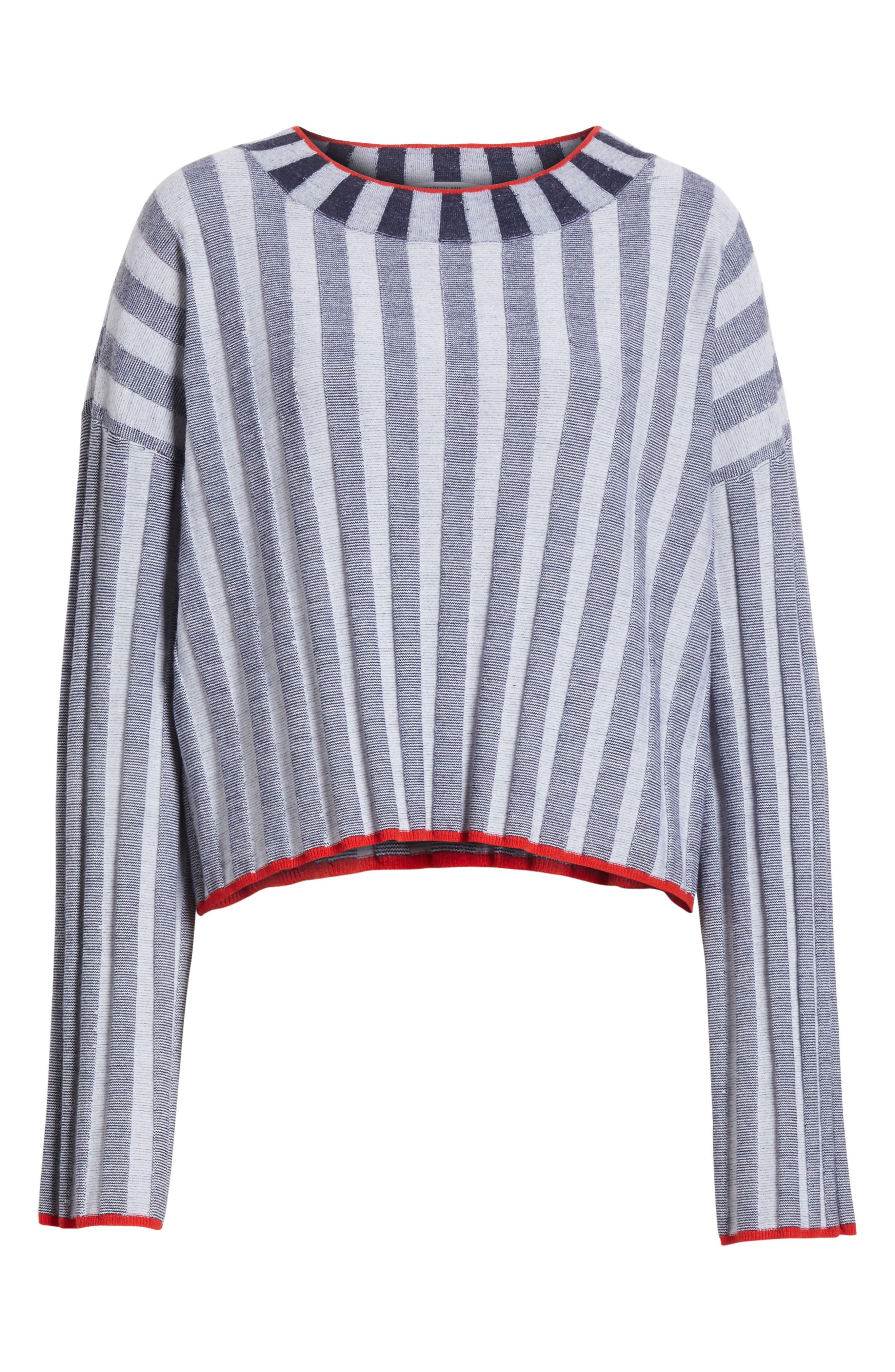 Campbell Stripe Merino Wool Blend Sweater,                             Alternate thumbnail 6, color,                             Navy/ Ivory