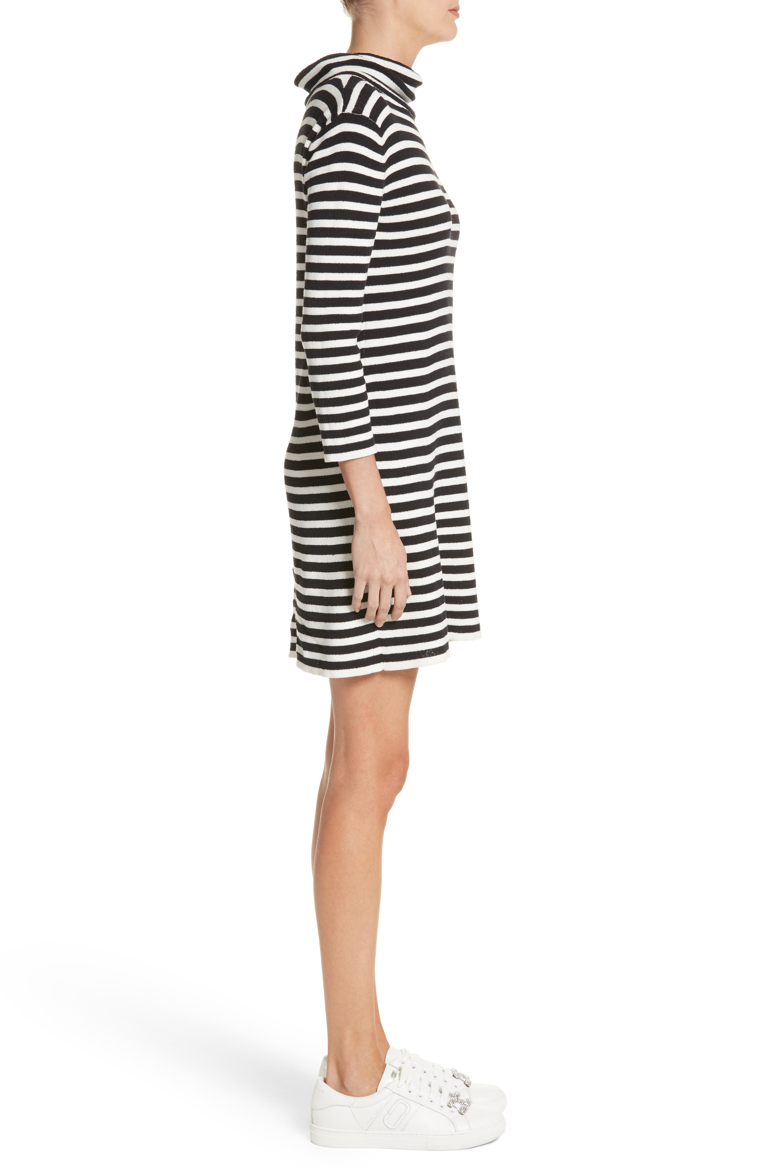 Stripe Cowl Neck Dress,                             Alternate thumbnail 3, color,                             Black/ Ivory