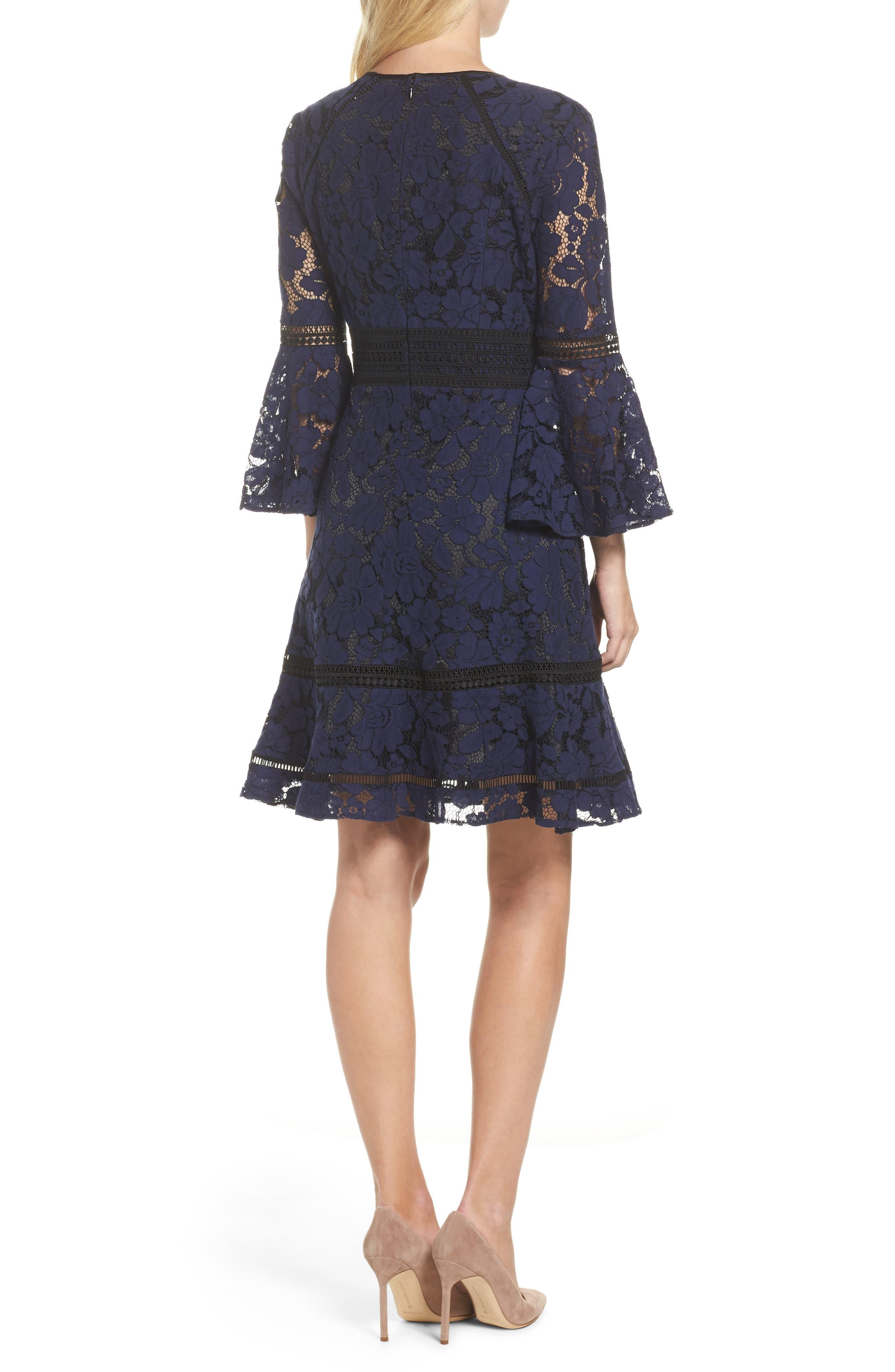Bell Sleeve Lace Dress,                             Alternate thumbnail 2, color,                             Navy/ Black