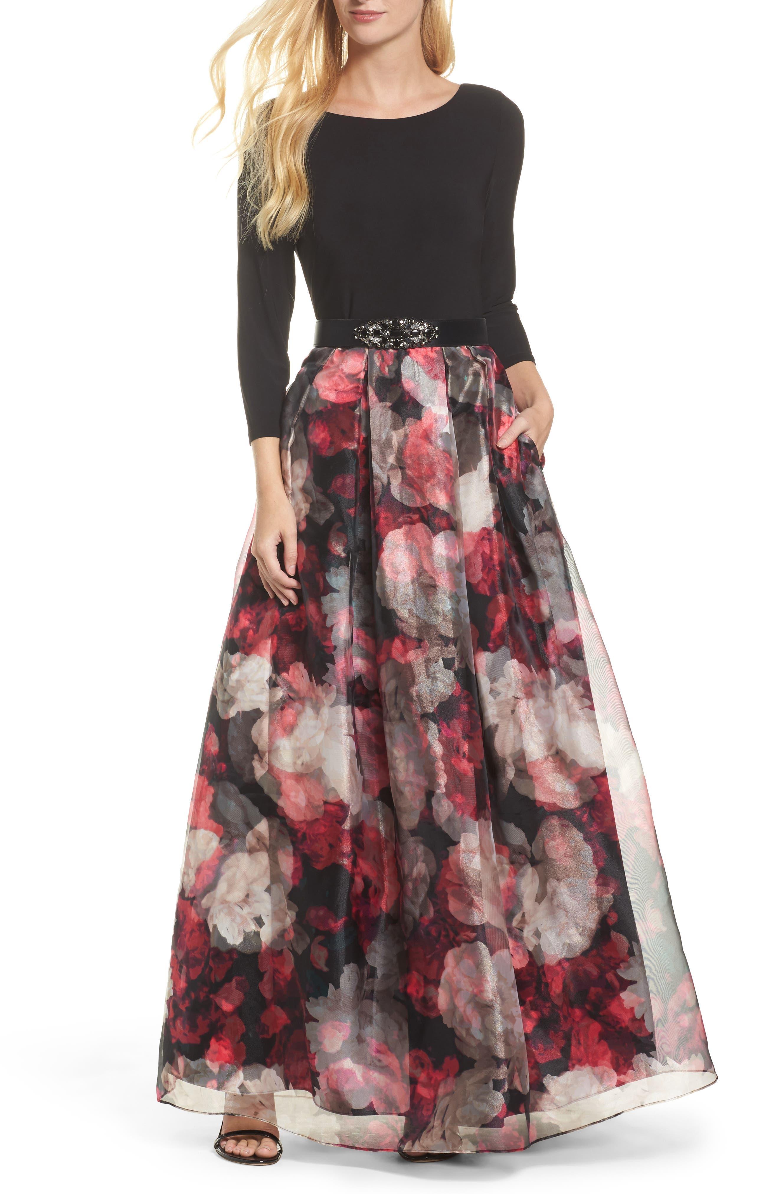 Embellished Knit & Organza Ballgown,                             Main thumbnail 1, color,                             Black
