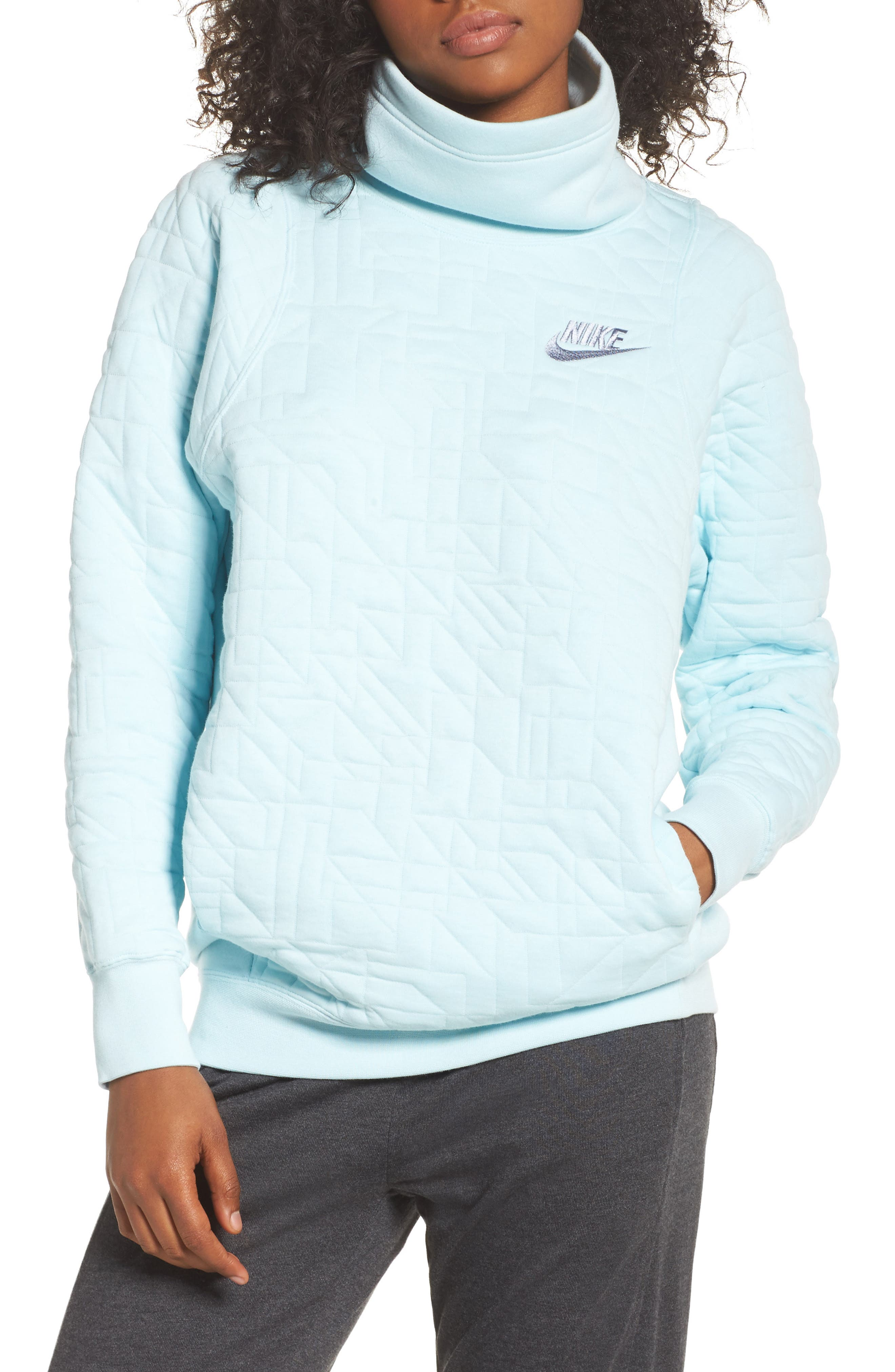 Sportswear Quilted Funnel Neck Pullover,                             Main thumbnail 1, color,                             Glacier Blue/ Glacier Grey