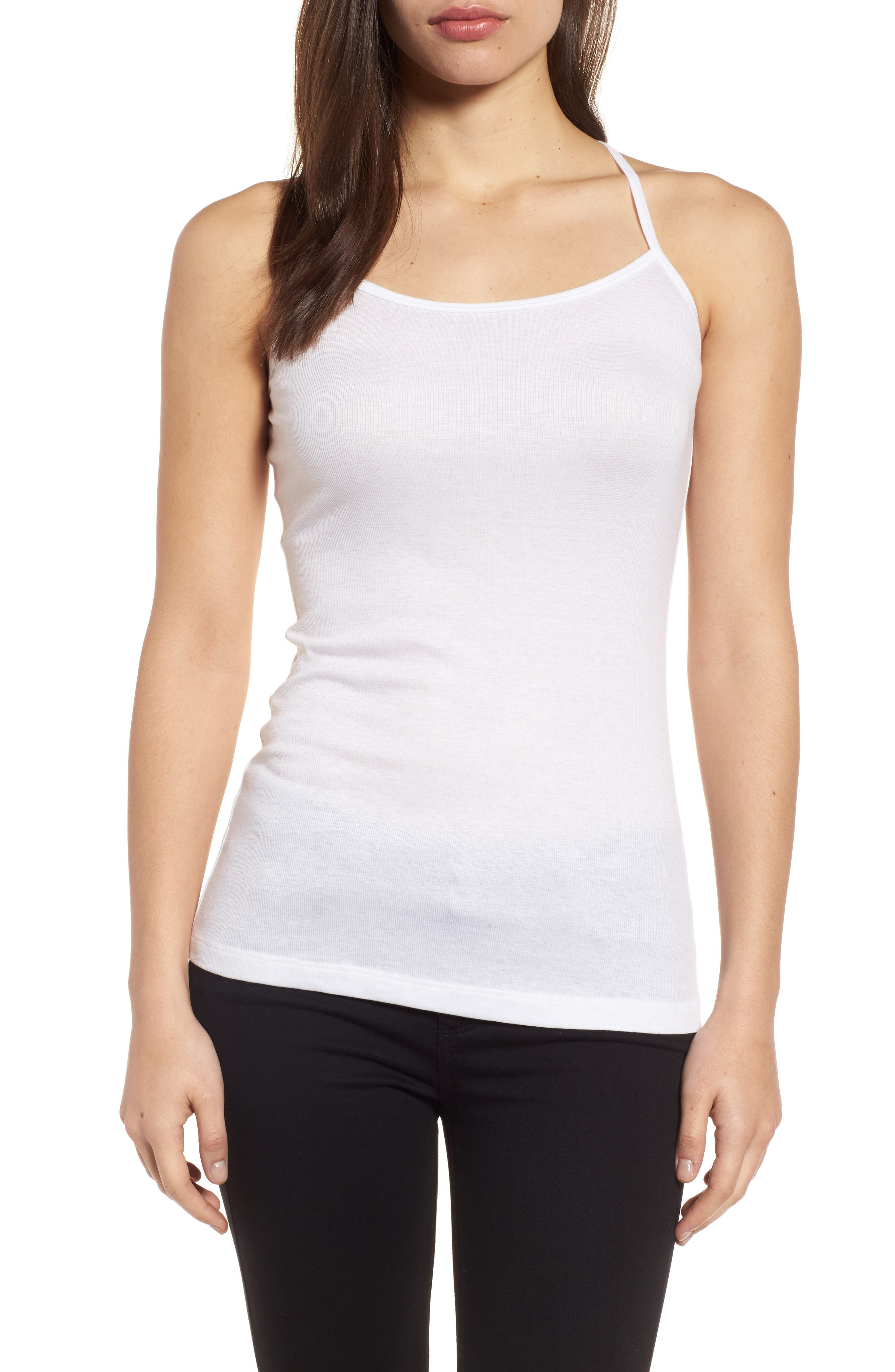 Stretch Tencel<sup>®</sup> Layering Tank,                         Main,                         color, White