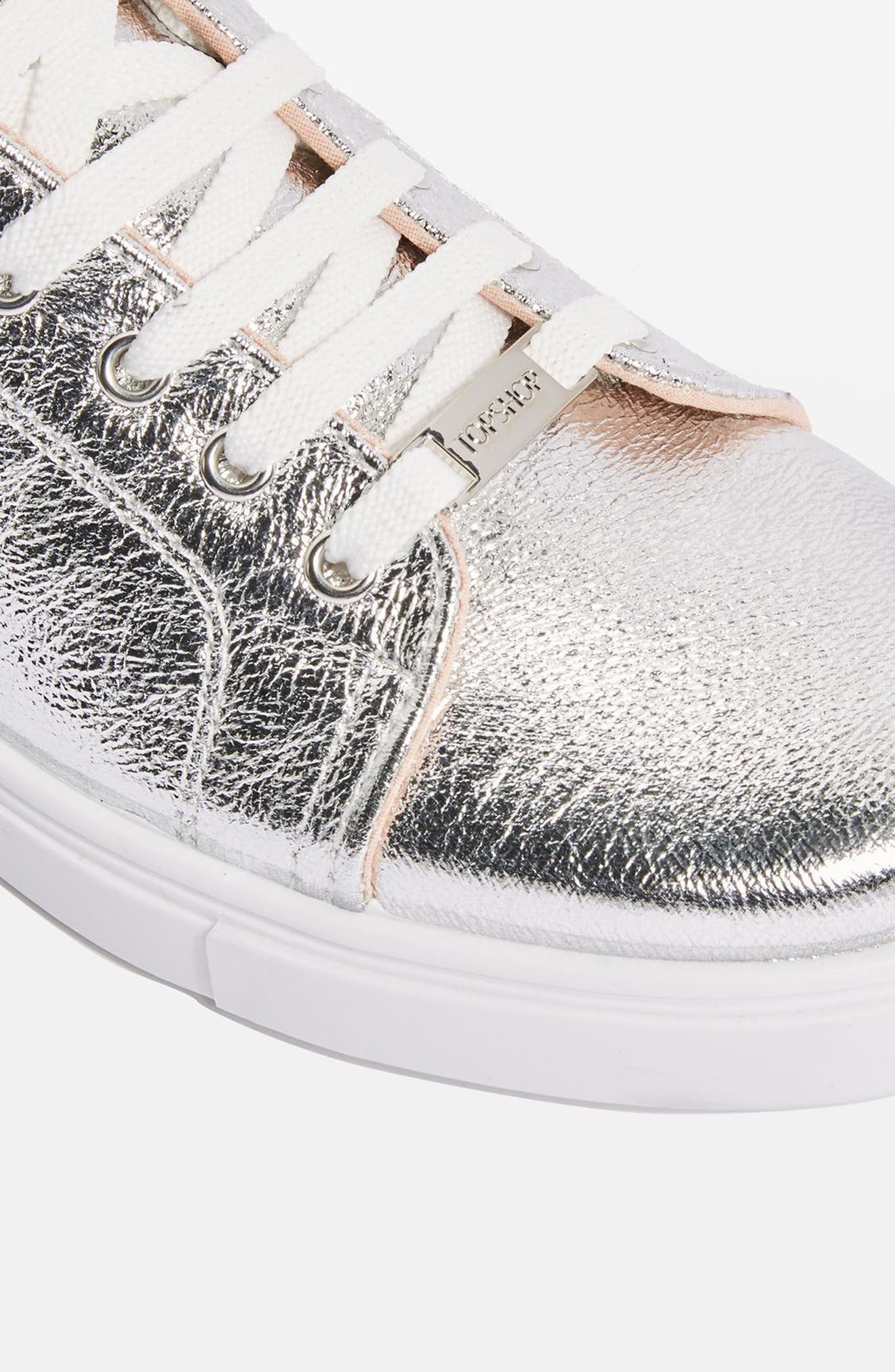 Cosmo Metallic Lace-Up Sneaker,                             Alternate thumbnail 3, color,                             Silver