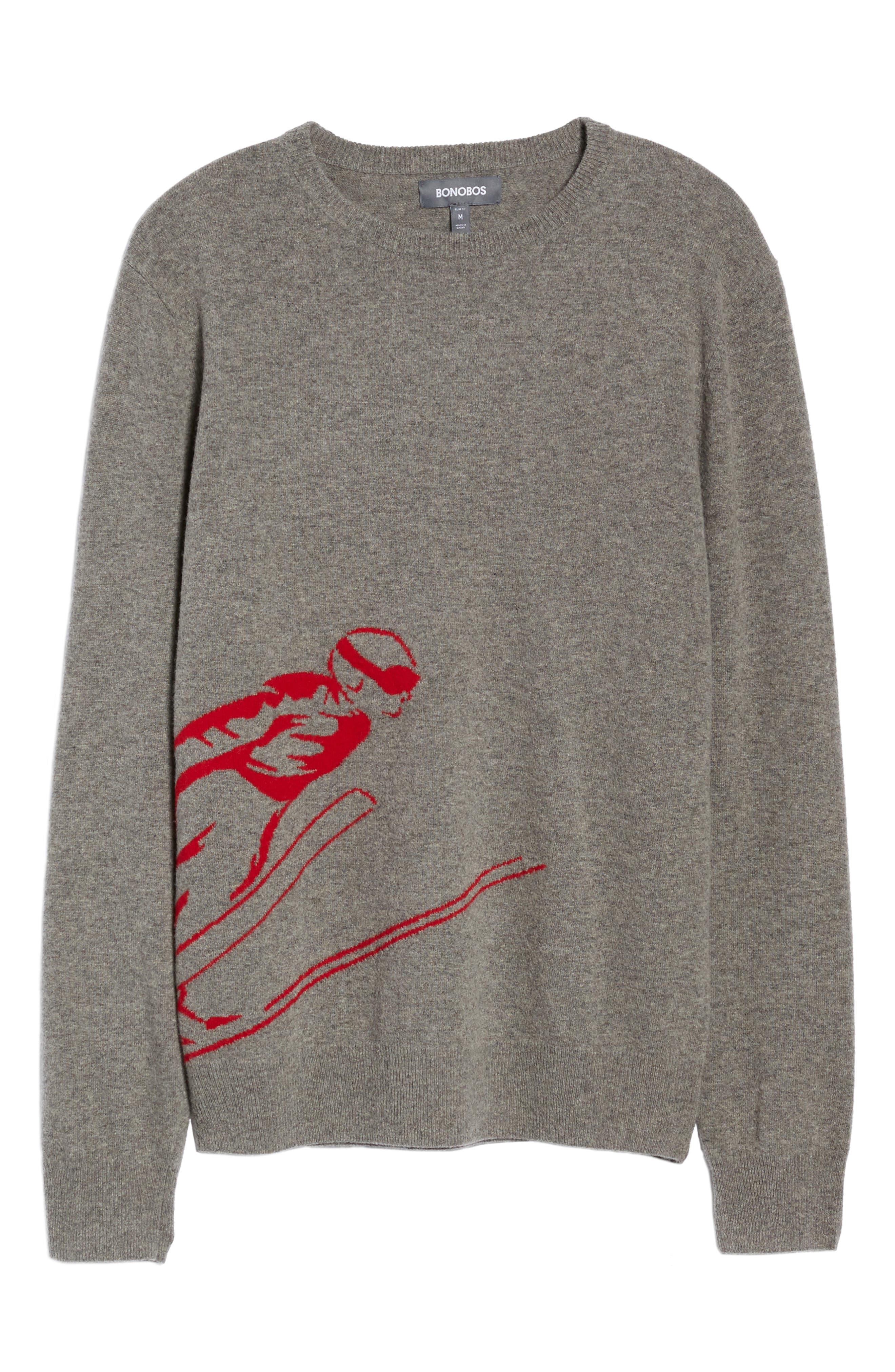 Skier Wool Blend Sweater,                             Alternate thumbnail 6, color,                             Mid Grey/ Crimson