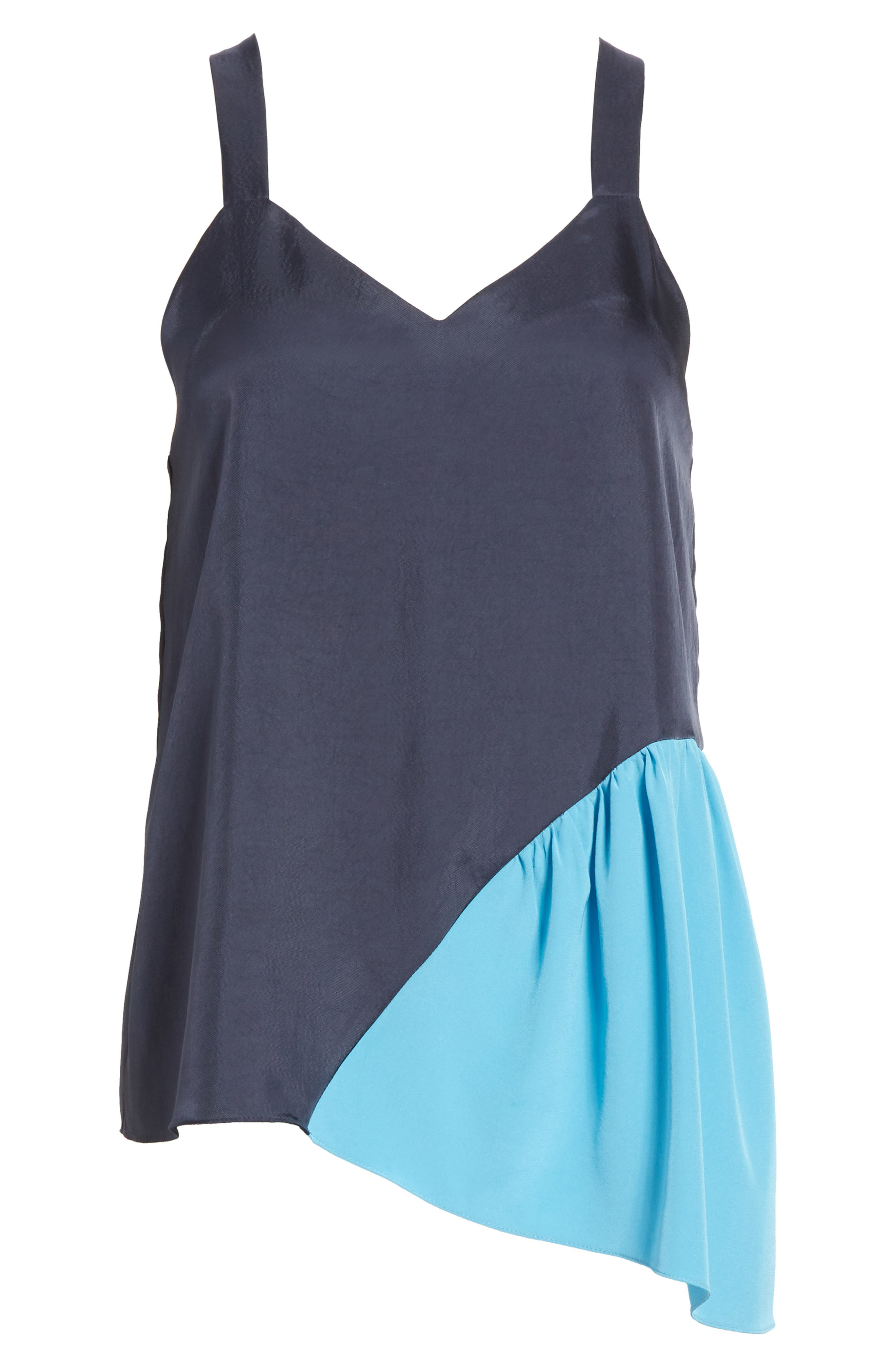 Shirred Colorblock Camisole,                             Alternate thumbnail 6, color,                             Navy/ Blue Multi
