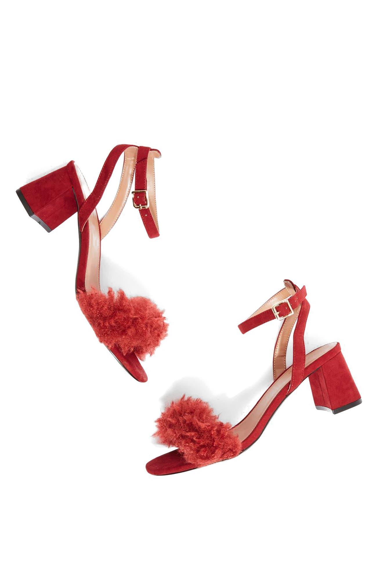 Topshop Doodle Faux Fur Block Heel Sandal (Women)