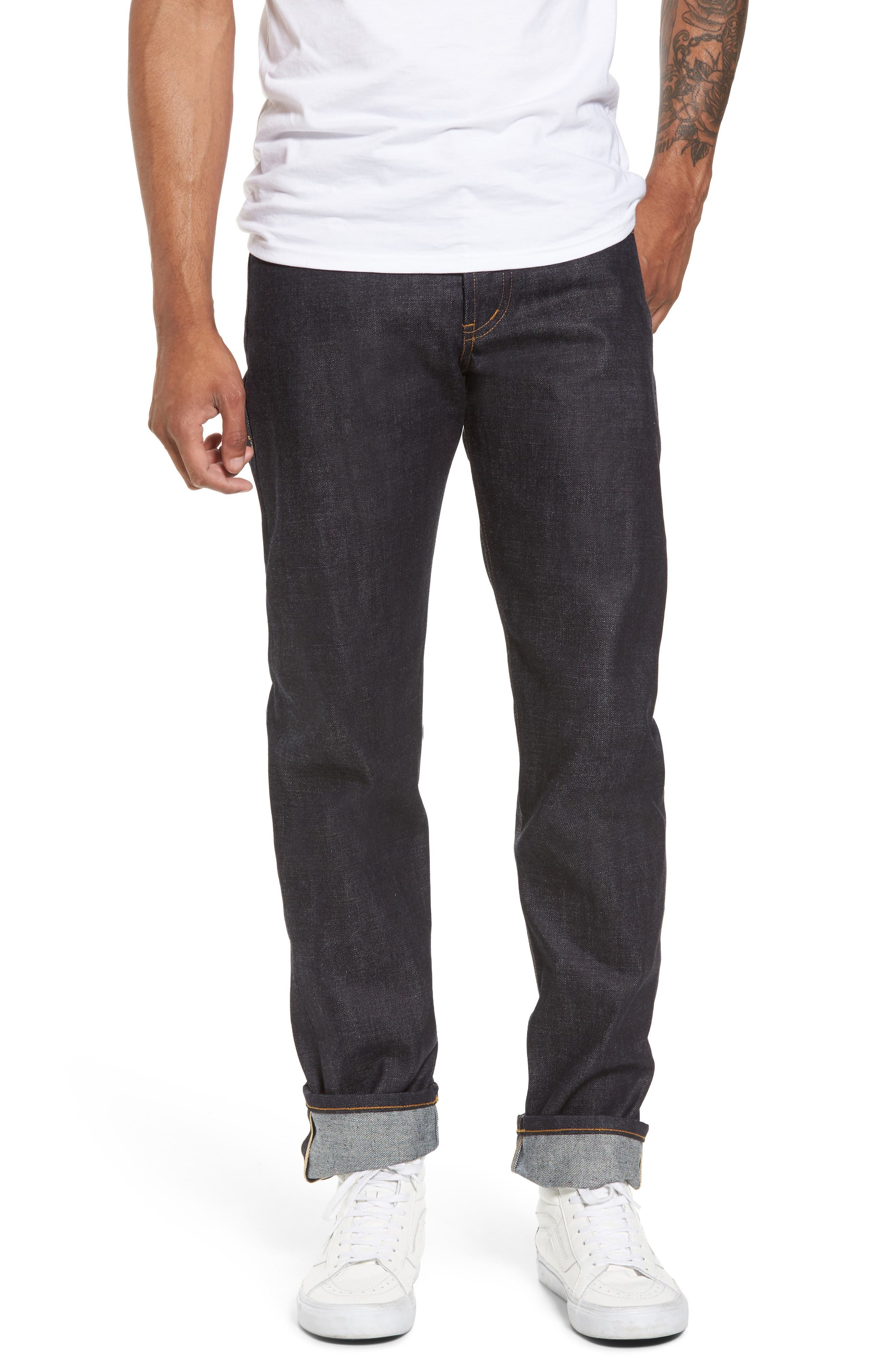 Weird Guy Slim Fit Street Fighter Sonic Boom Selvedge Jeans,                         Main,                         color, Indigo