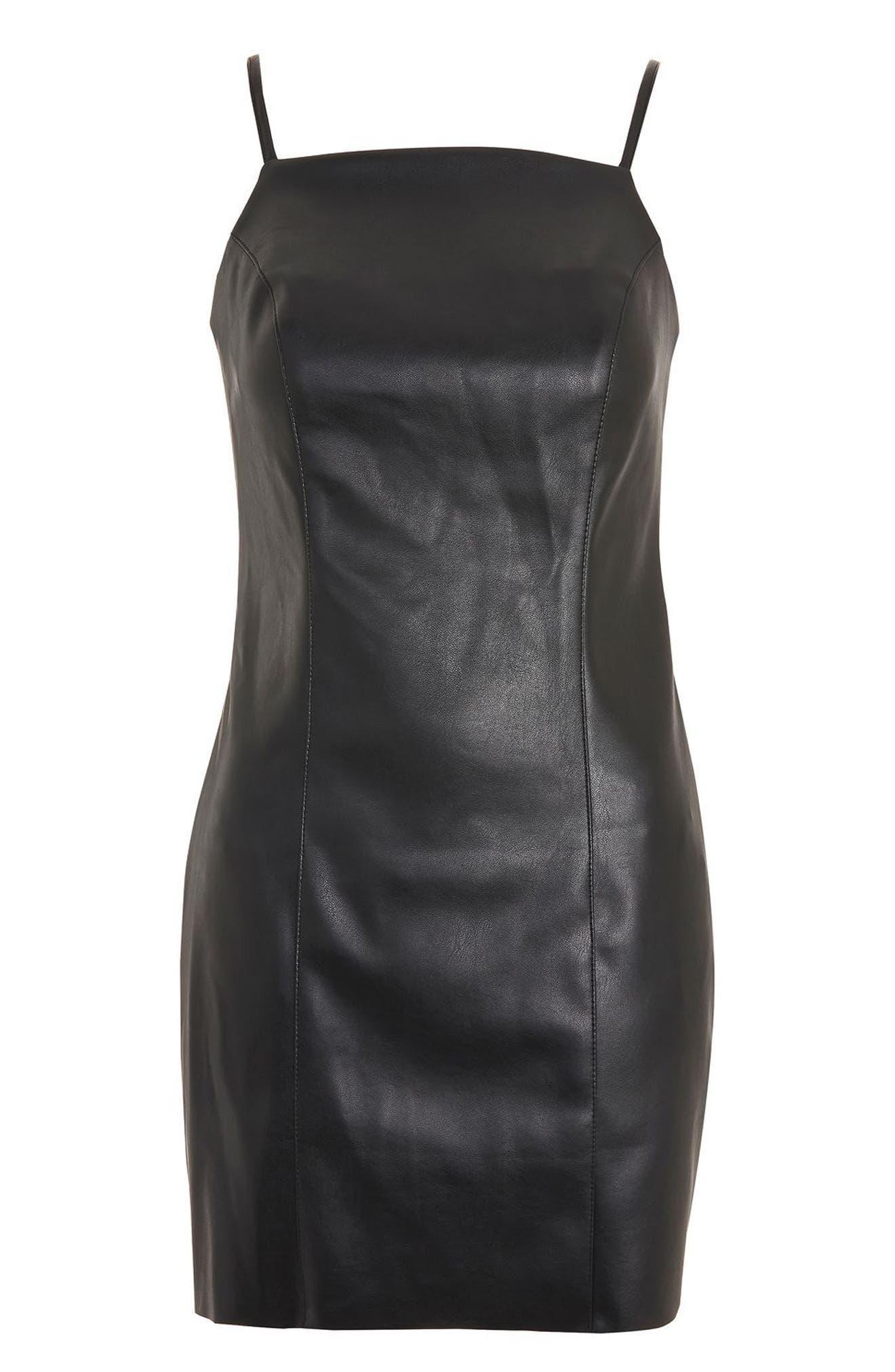 Faux Leather Minidress,                             Alternate thumbnail 3, color,                             Black