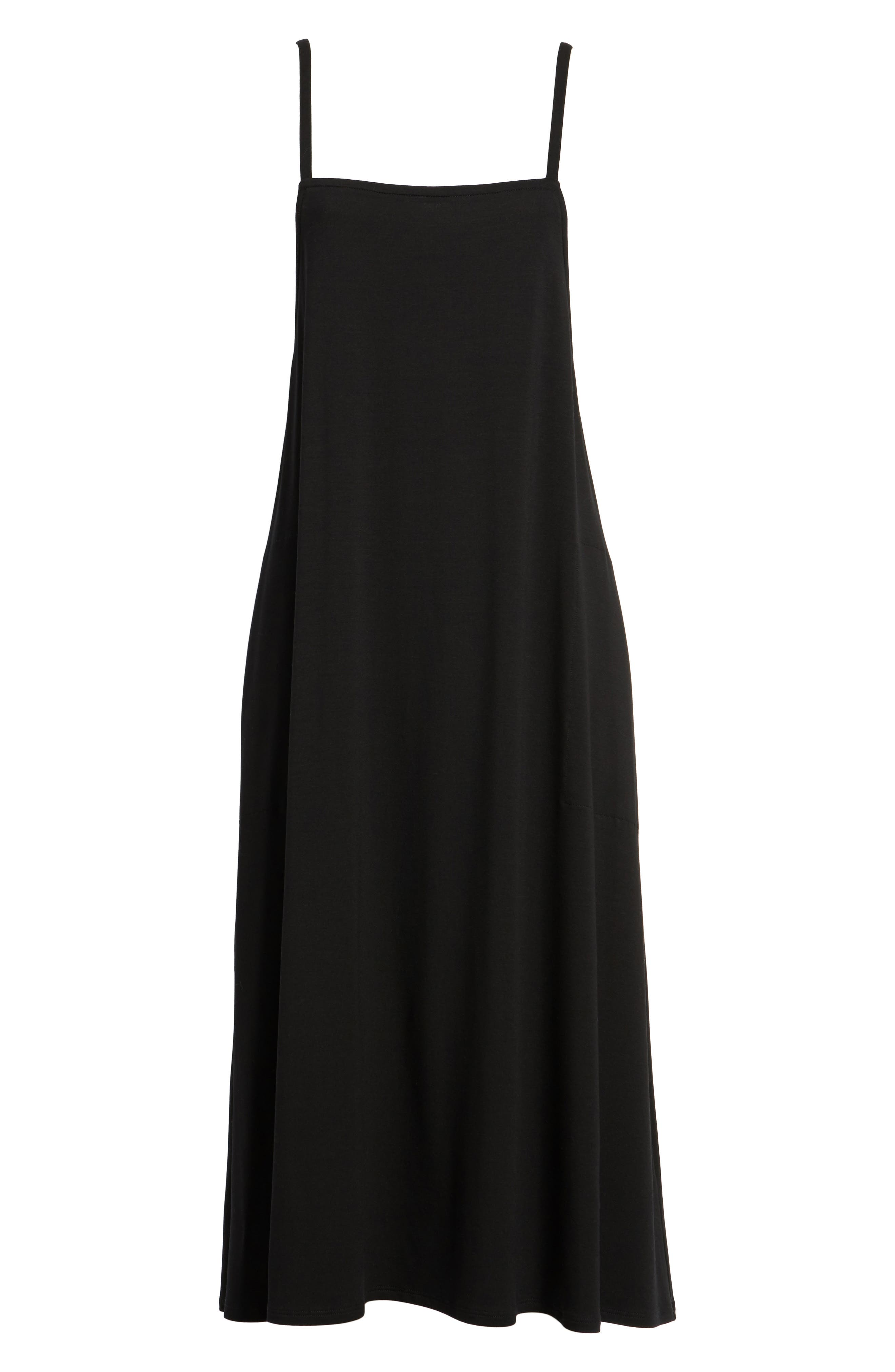 Stretch Tencel<sup>®</sup> Lyocell Jumper Dress,                             Alternate thumbnail 6, color,                             Black