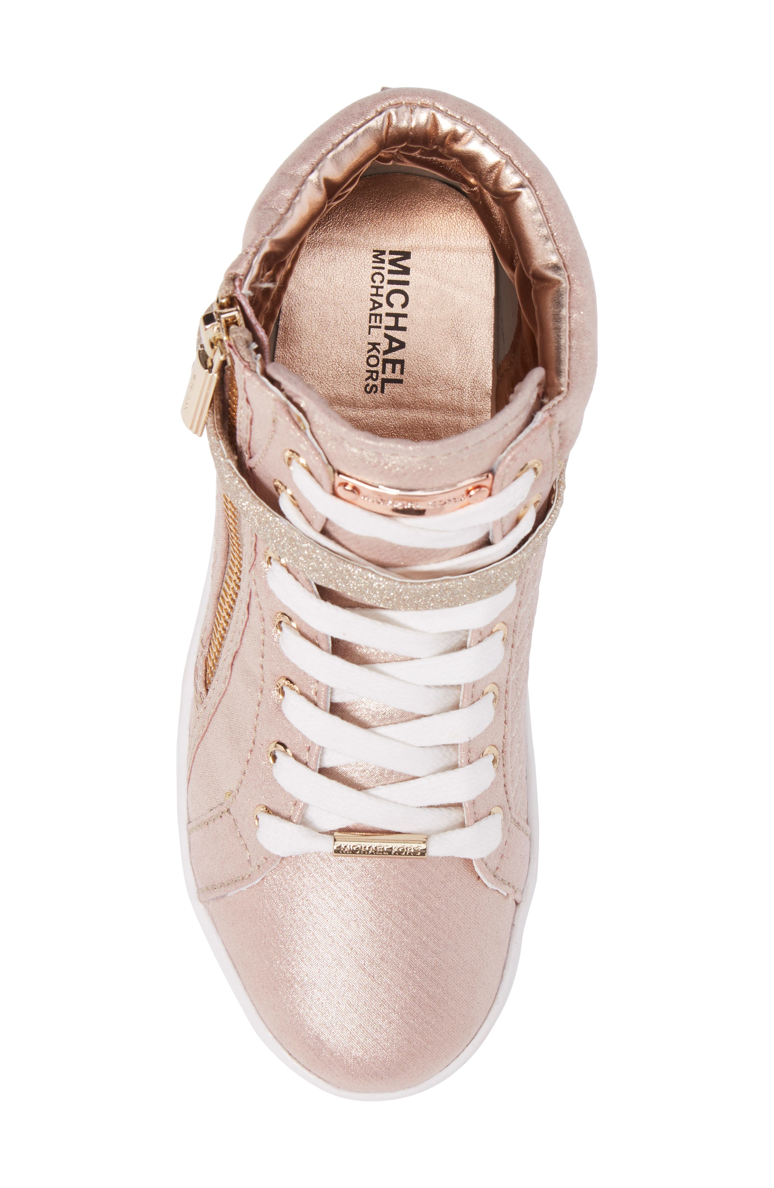 Ivy Rio Glittery High Top Sneaker,                             Alternate thumbnail 5, color,                             Rose Gold