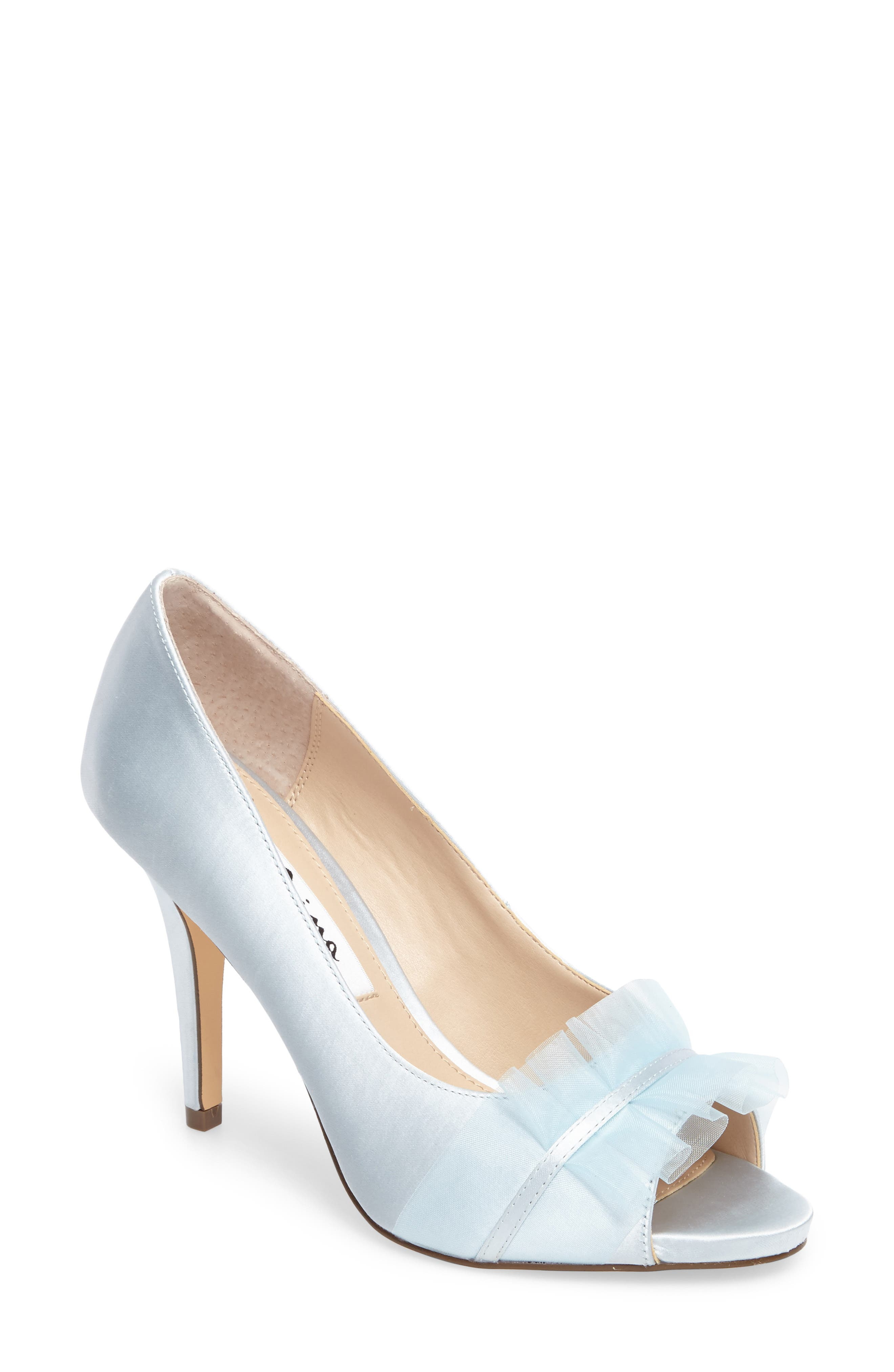 8afcf1592f1 Nina Raizel Ruffle Open Toe Pump In Blue Satin