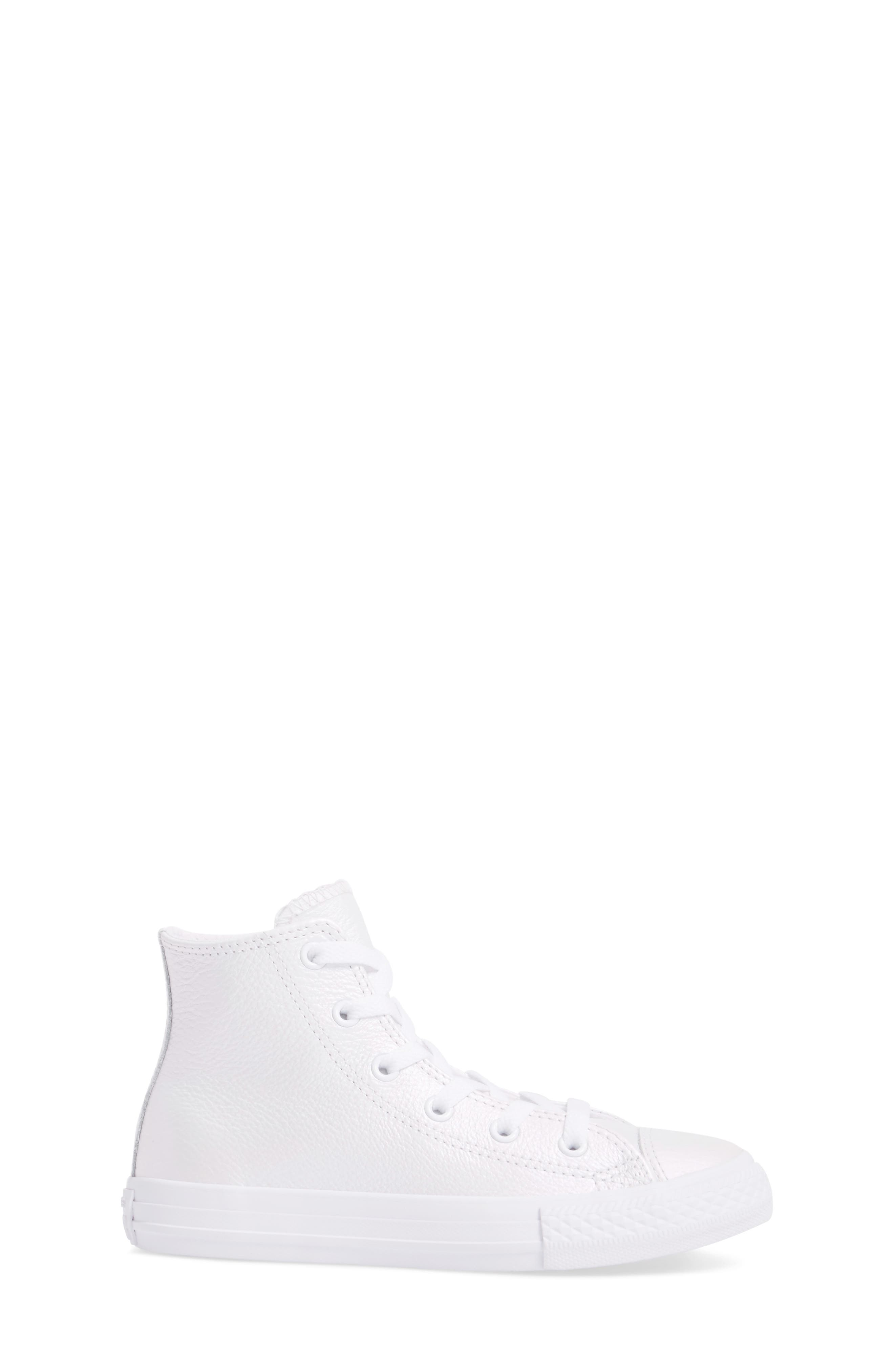 Chuck Taylor<sup>®</sup> All Star<sup>®</sup> Iridescent Leather High Top Sneaker,                             Alternate thumbnail 3, color,                             White Leather