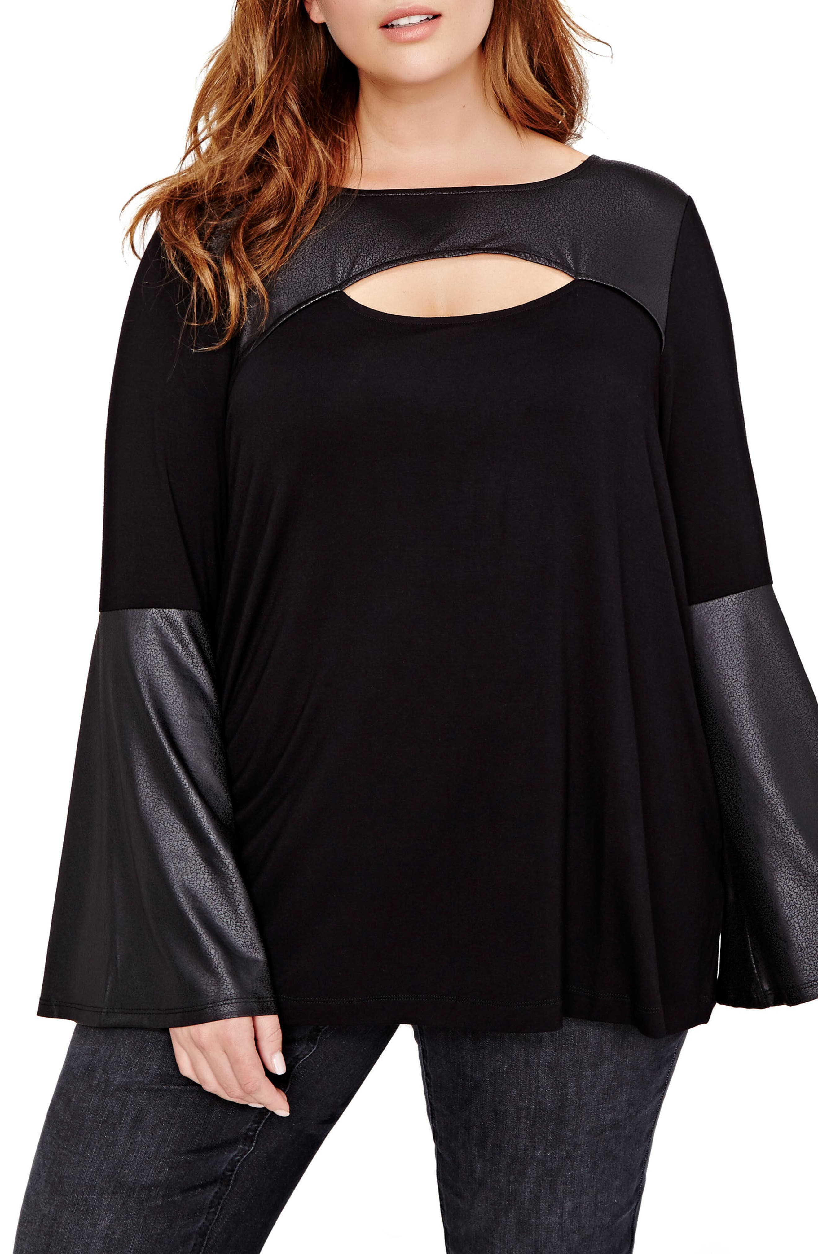 ADDITION ELLE LOVE AND LEGEND Bell Sleeve Peekaboo Top (Plus Size)