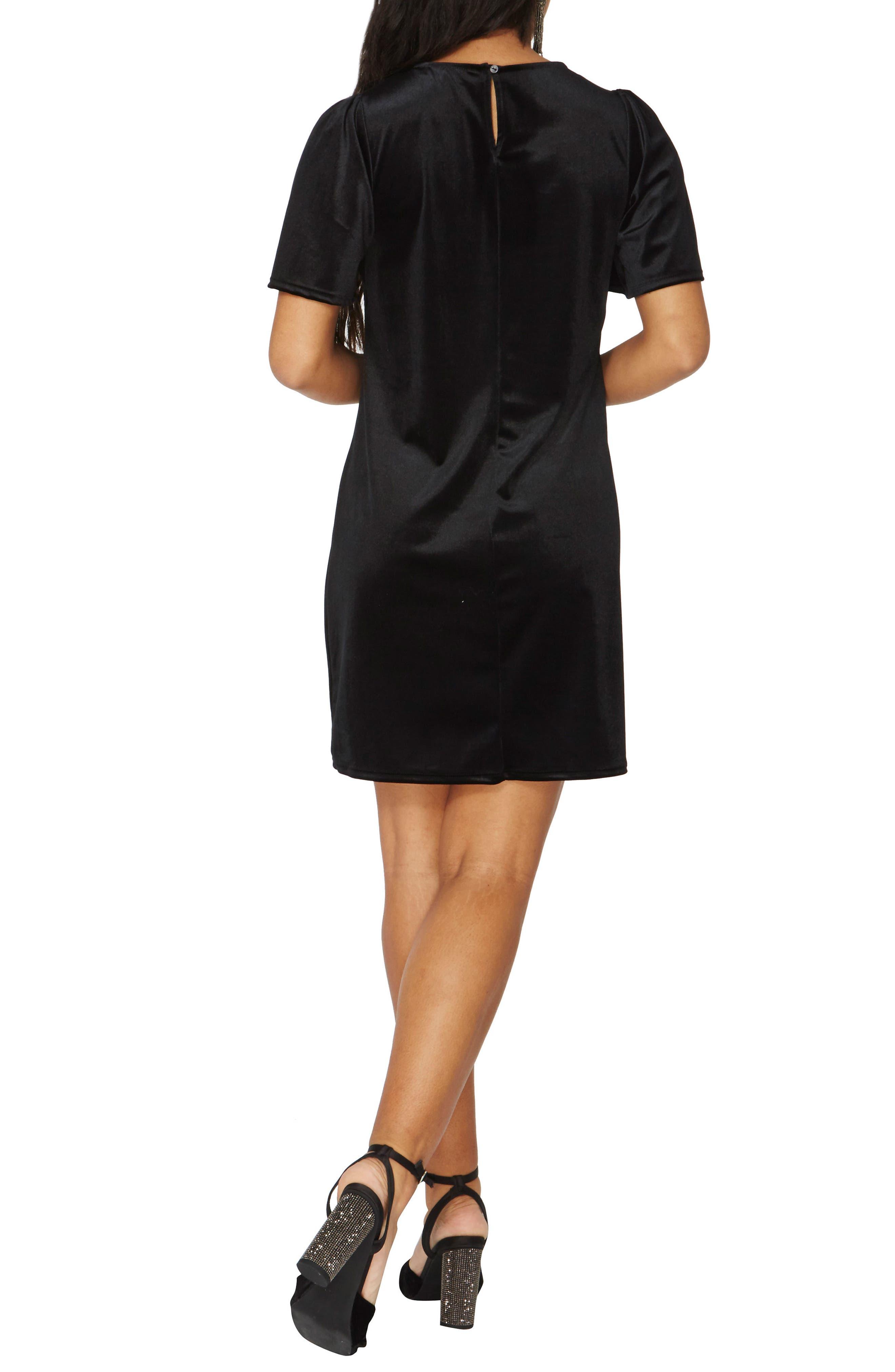 Velvet Shift Dress,                             Alternate thumbnail 2, color,                             Black