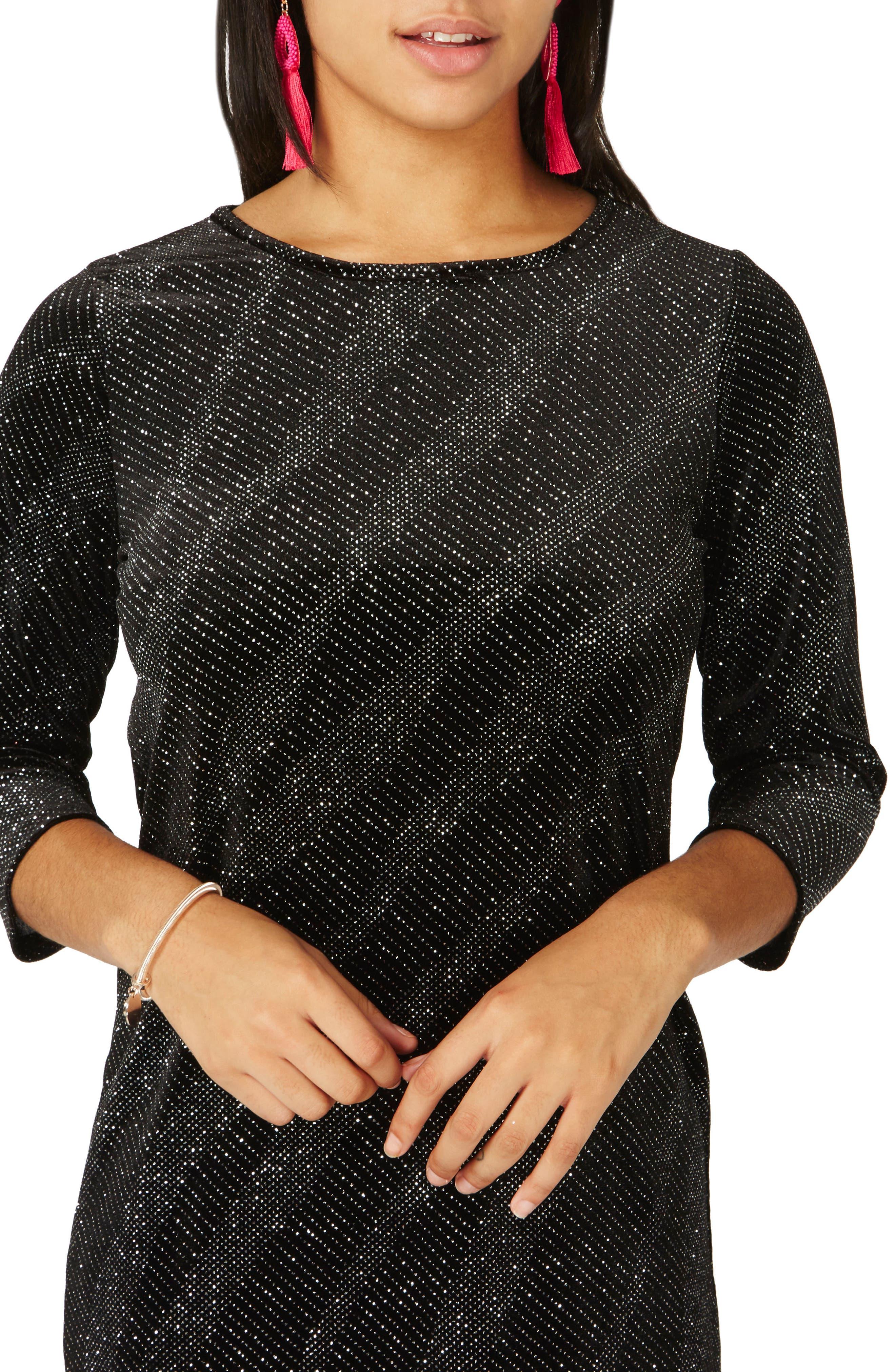 Metallic Shift Dress,                             Alternate thumbnail 4, color,                             Black