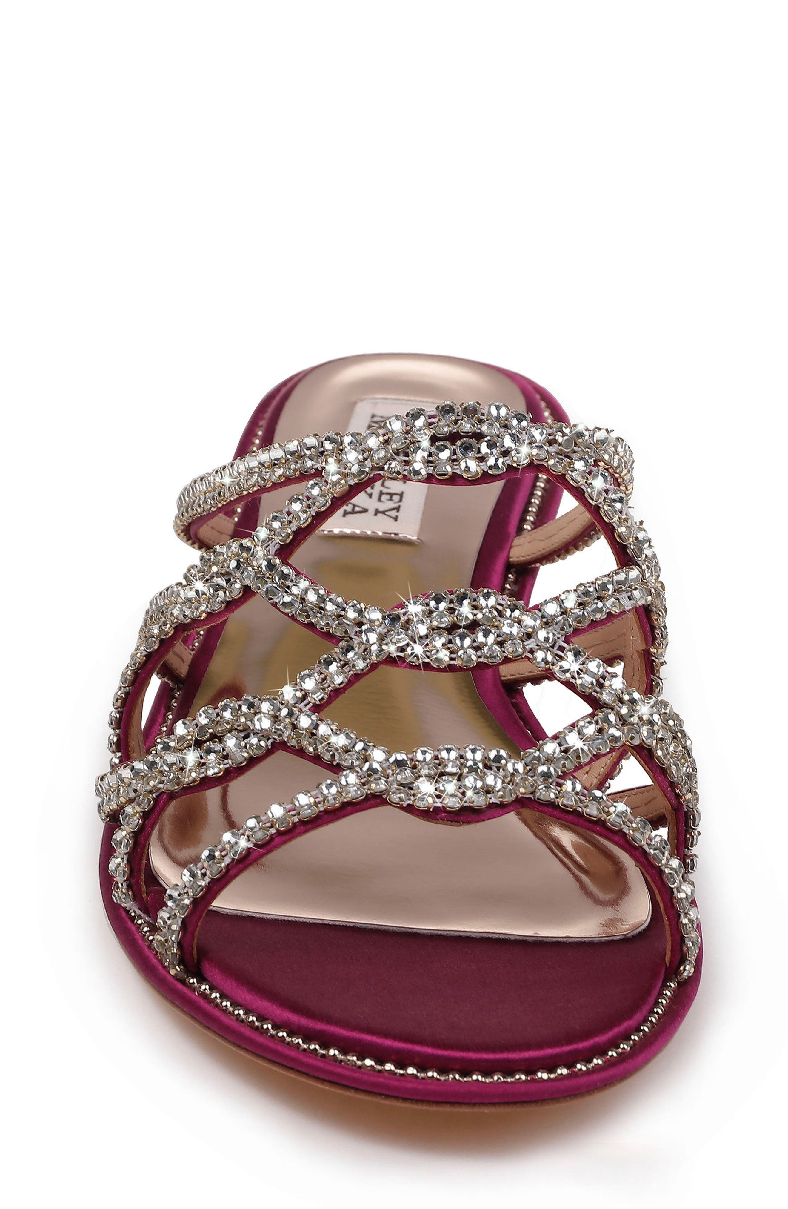 Sofie Strappy Sandal,                             Alternate thumbnail 4, color,                             Mulberry Satin
