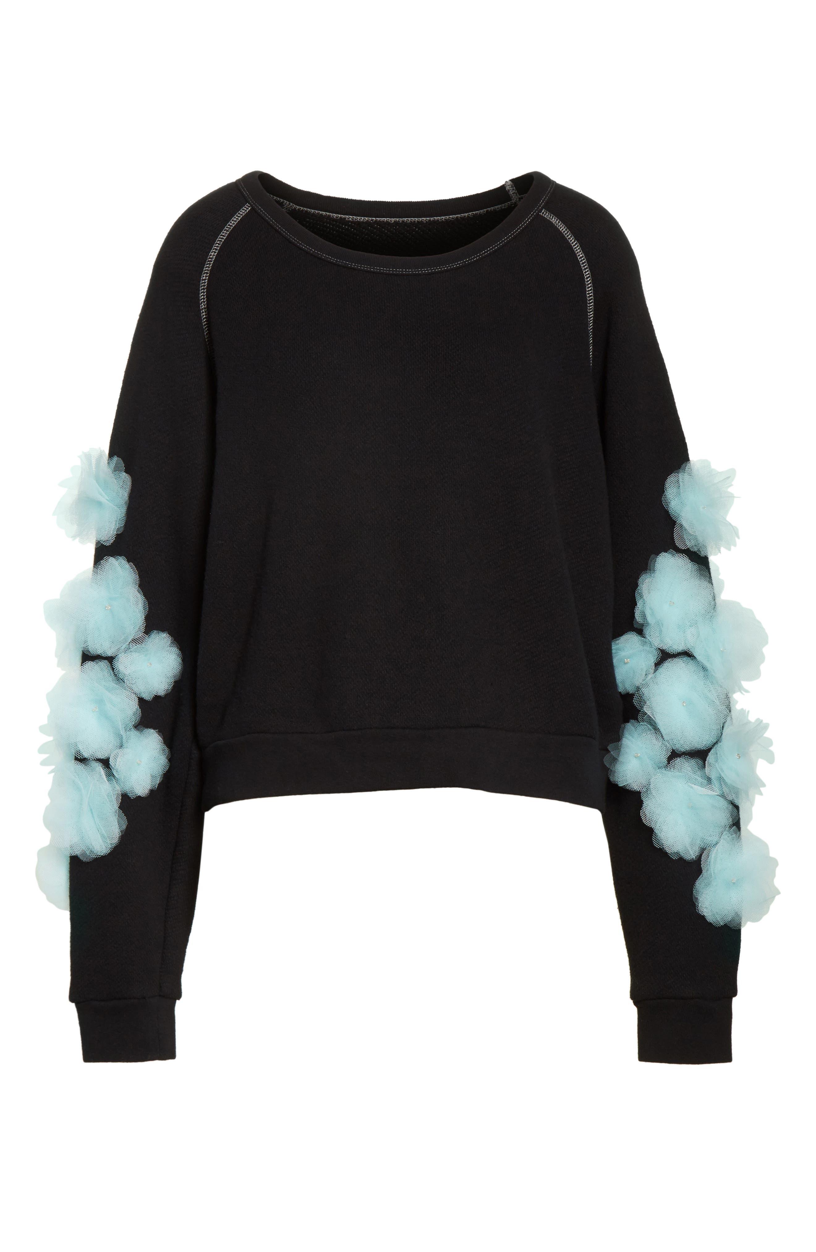 Tu es mon TRESOR Tulle Flower Sweatshirt,                             Alternate thumbnail 6, color,                             Black/ Mint Bkmi