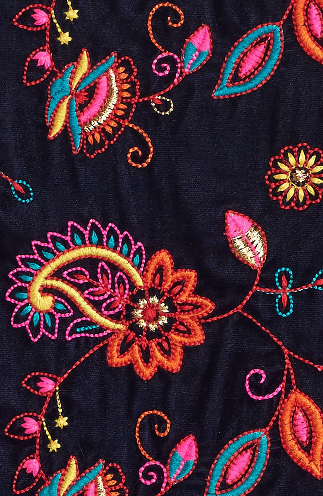Kara Embroidered Velvet Dress,                             Alternate thumbnail 3, color,                             Navy