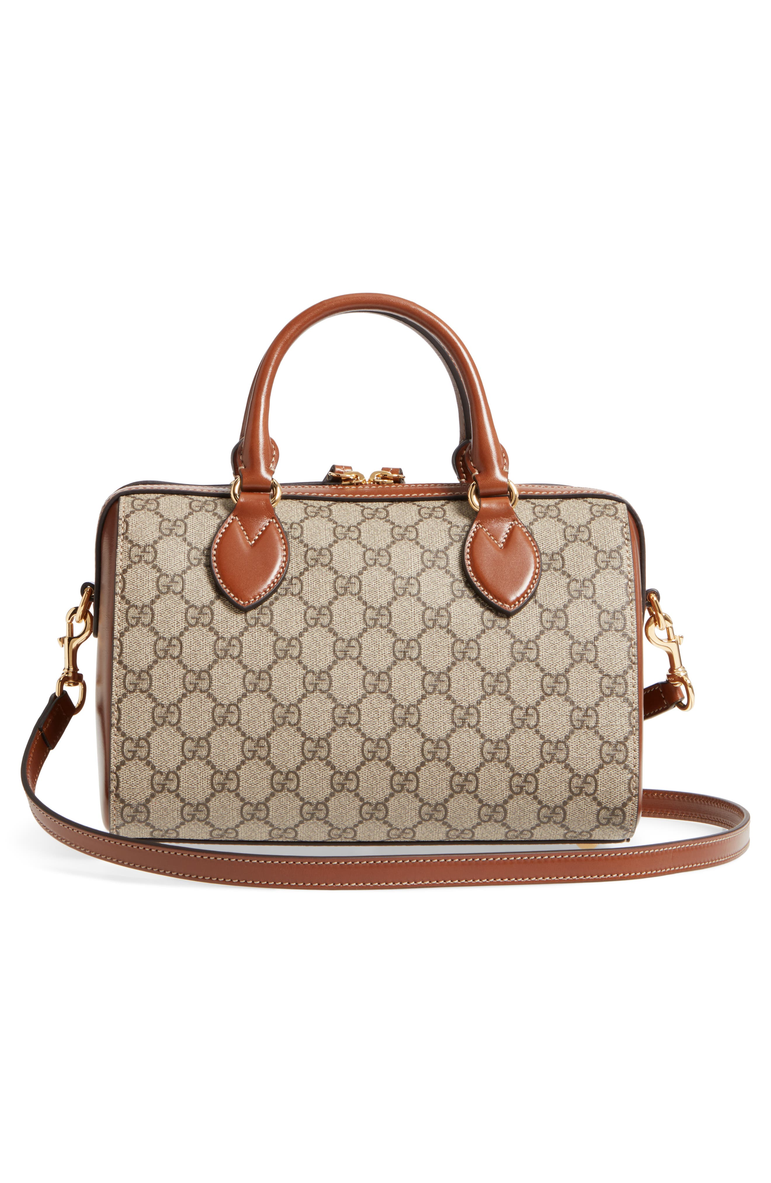 Linea Top Handle GG Supreme Canvas & Leather Bag,                             Alternate thumbnail 3, color,                             Beige/ Ebony/ Cuir