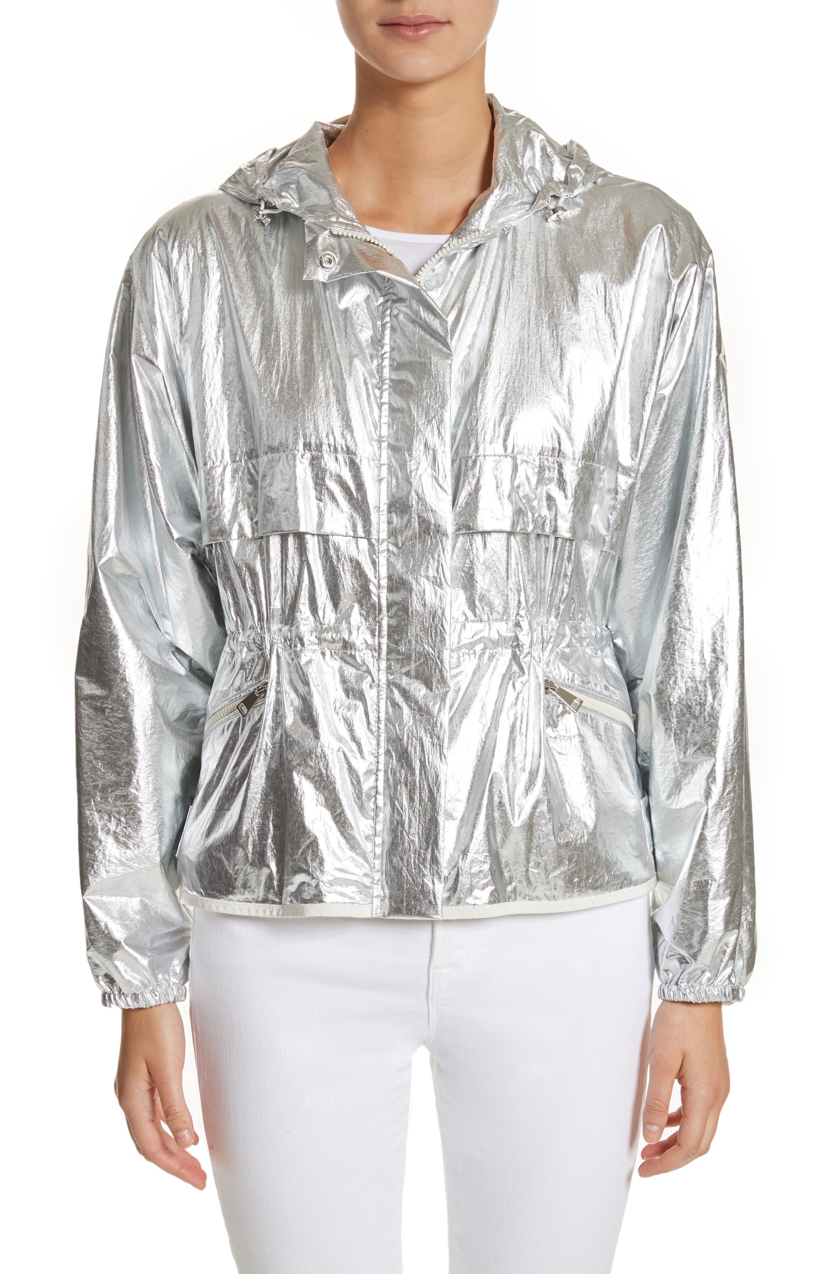 Alternate Image 1 Selected - Moncler Jais Metallic Hooded Raincoat