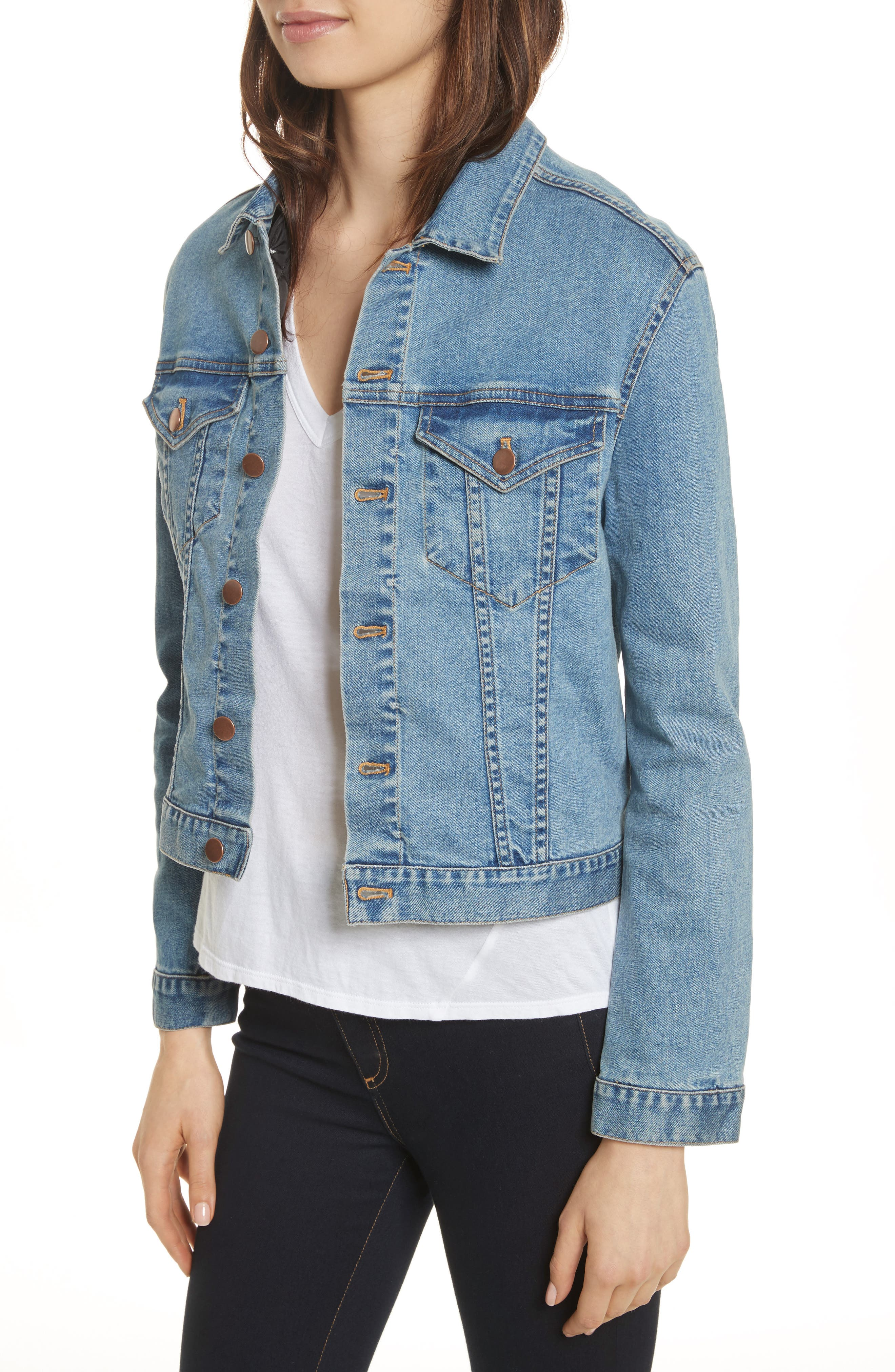 Stevie Jean Jacket with Removable Faux Shearling Collar,                             Alternate thumbnail 4, color,                             Medium Blue