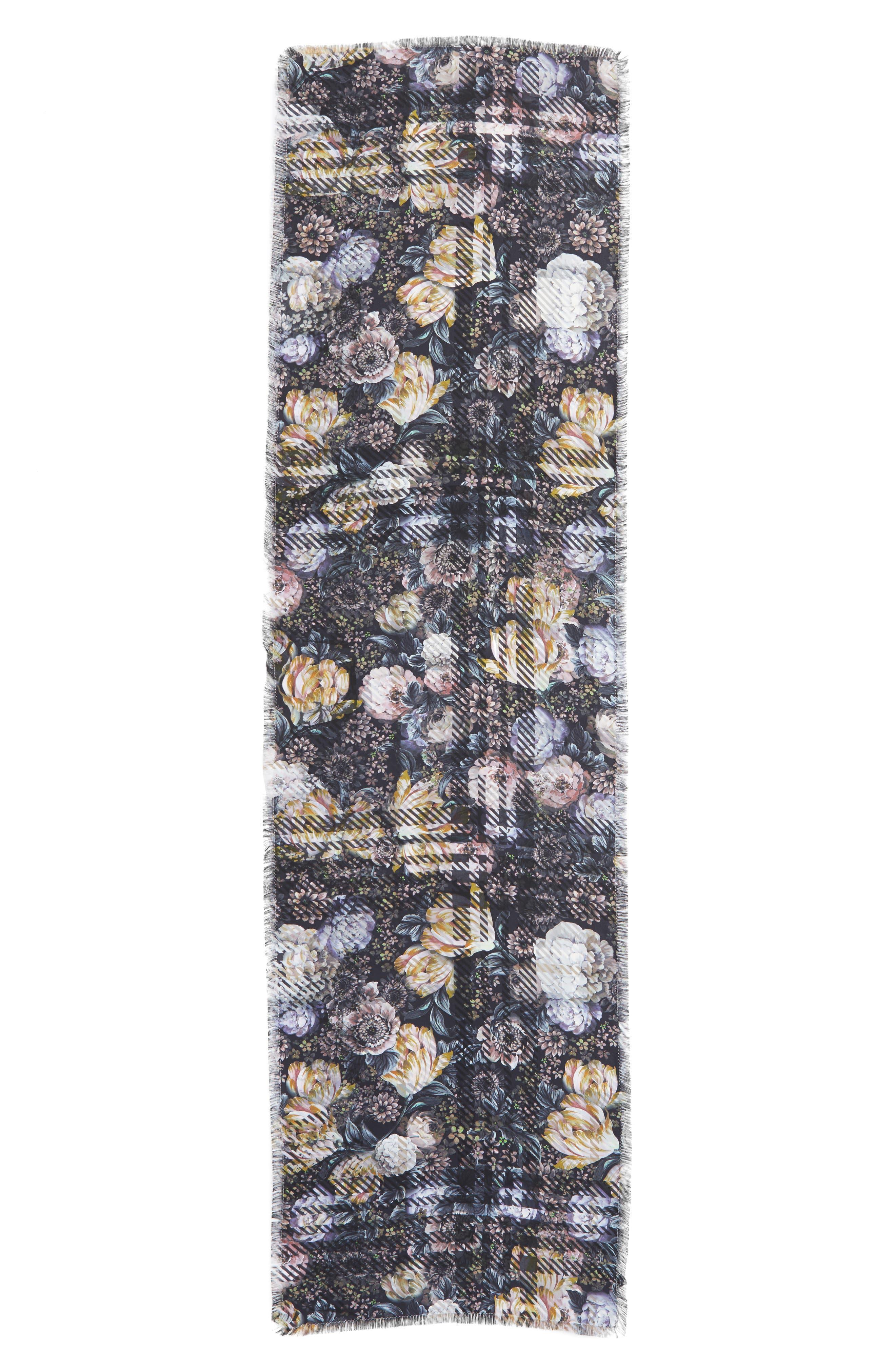 Floral Plaid Silk Wrap,                             Alternate thumbnail 2, color,                             Marshmallow