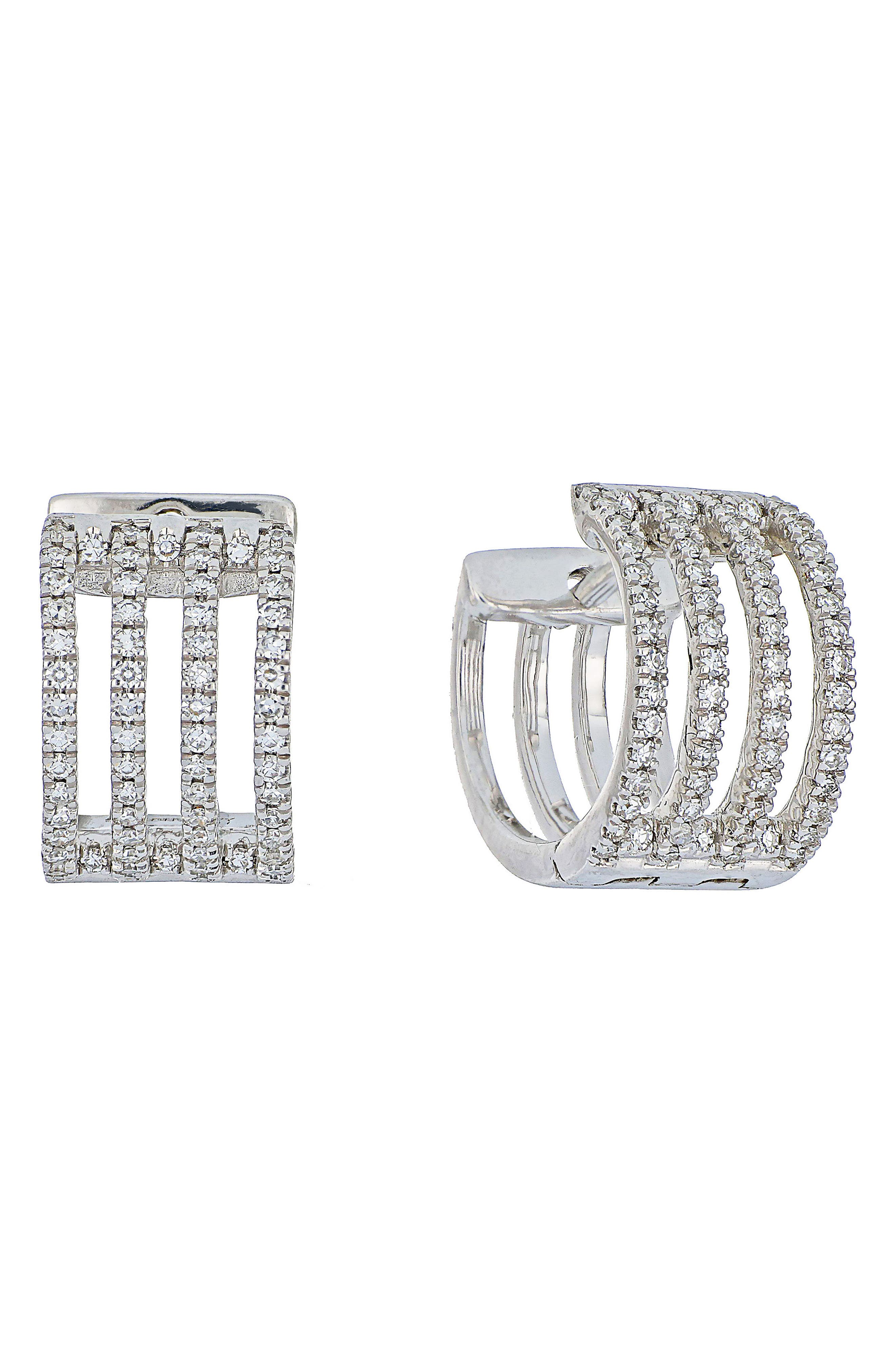 Carrière Four-Row Diamond Hoop Earrings,                             Main thumbnail 1, color,                             Silver/ Diamond
