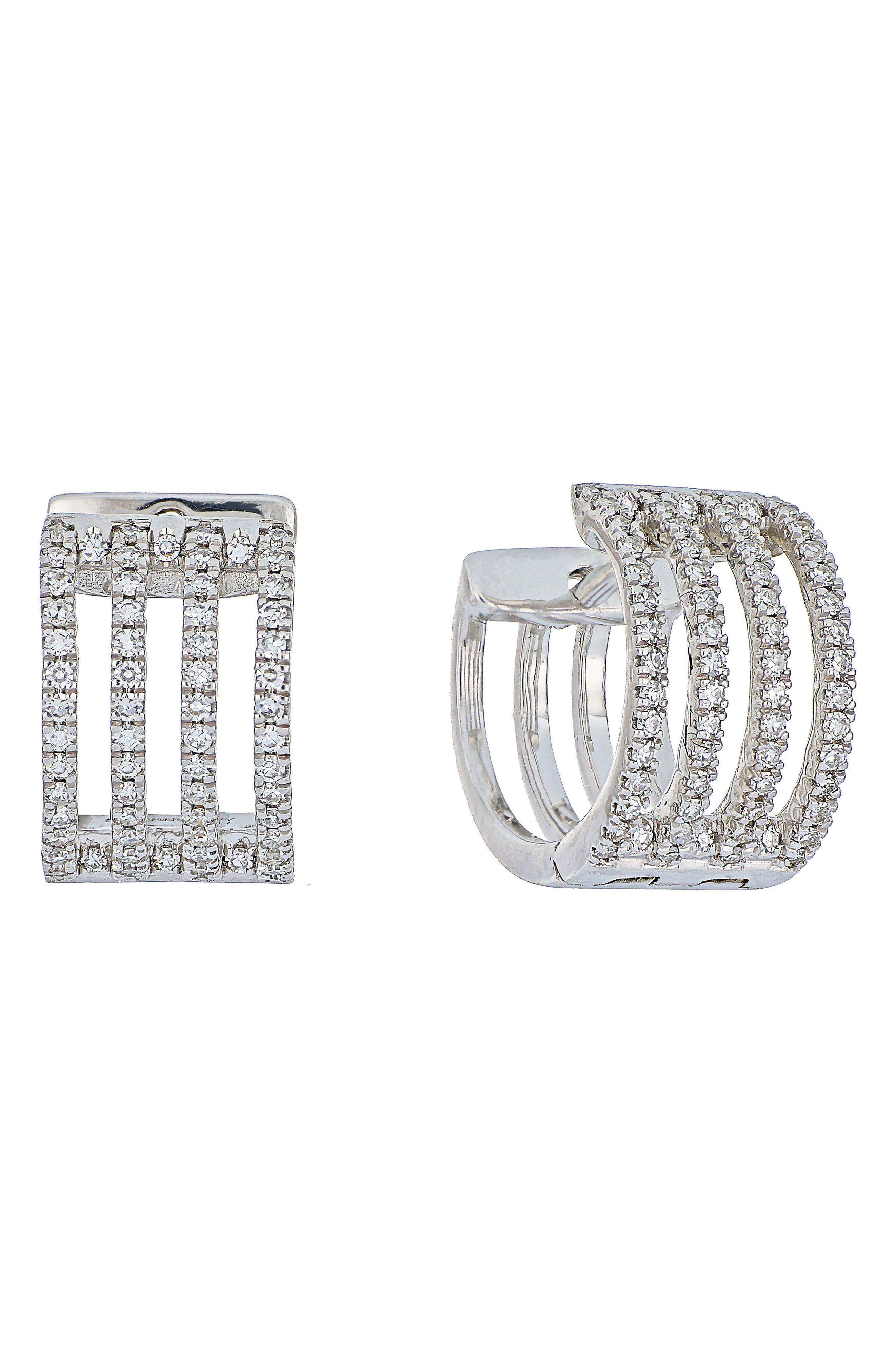 Carrière Four-Row Diamond Hoop Earrings,                         Main,                         color, Silver/ Diamond