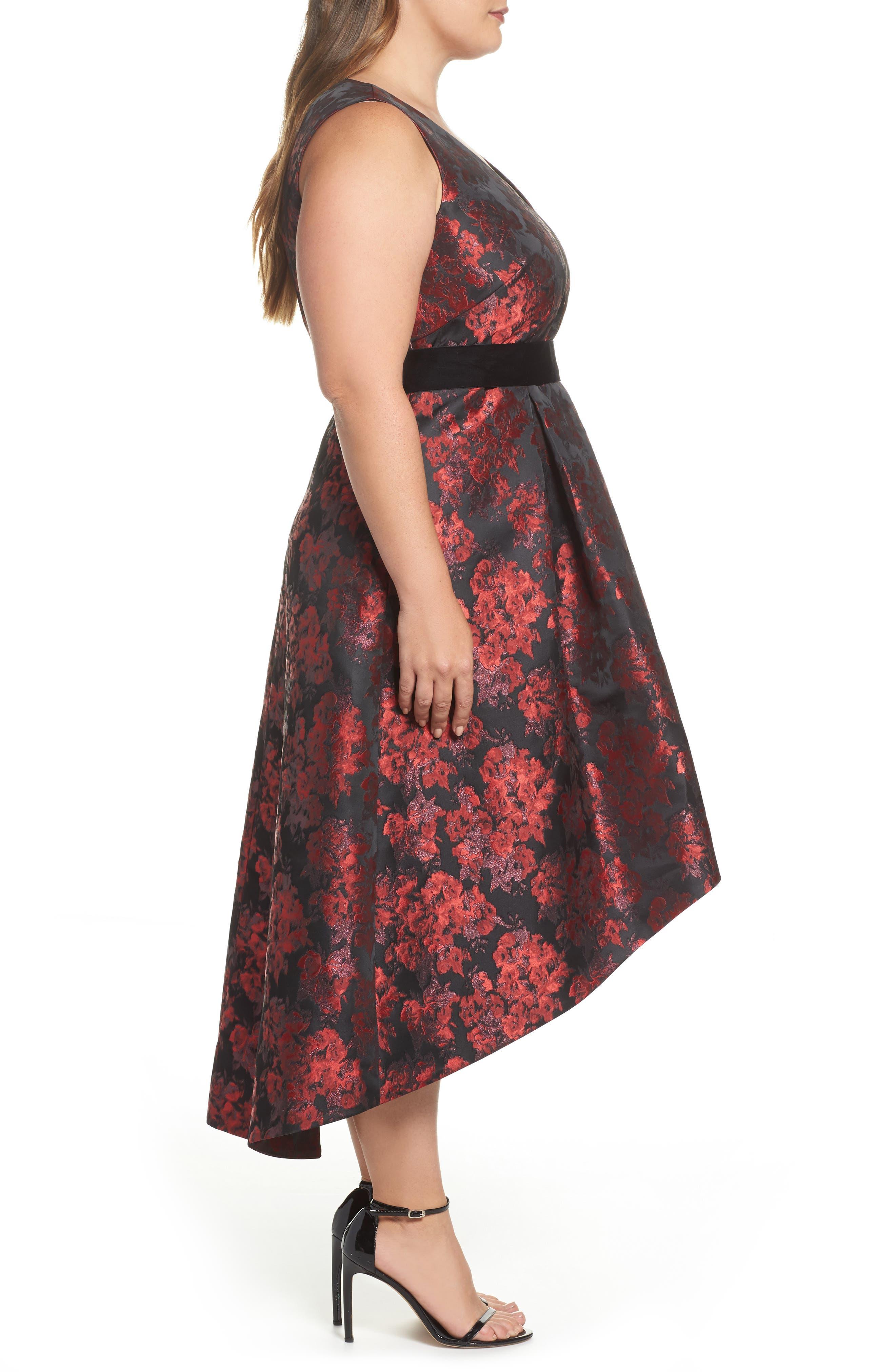 Alternate Image 3  - Eliza J Sleeveless Jacquard High/Low Dress (Plus Size)