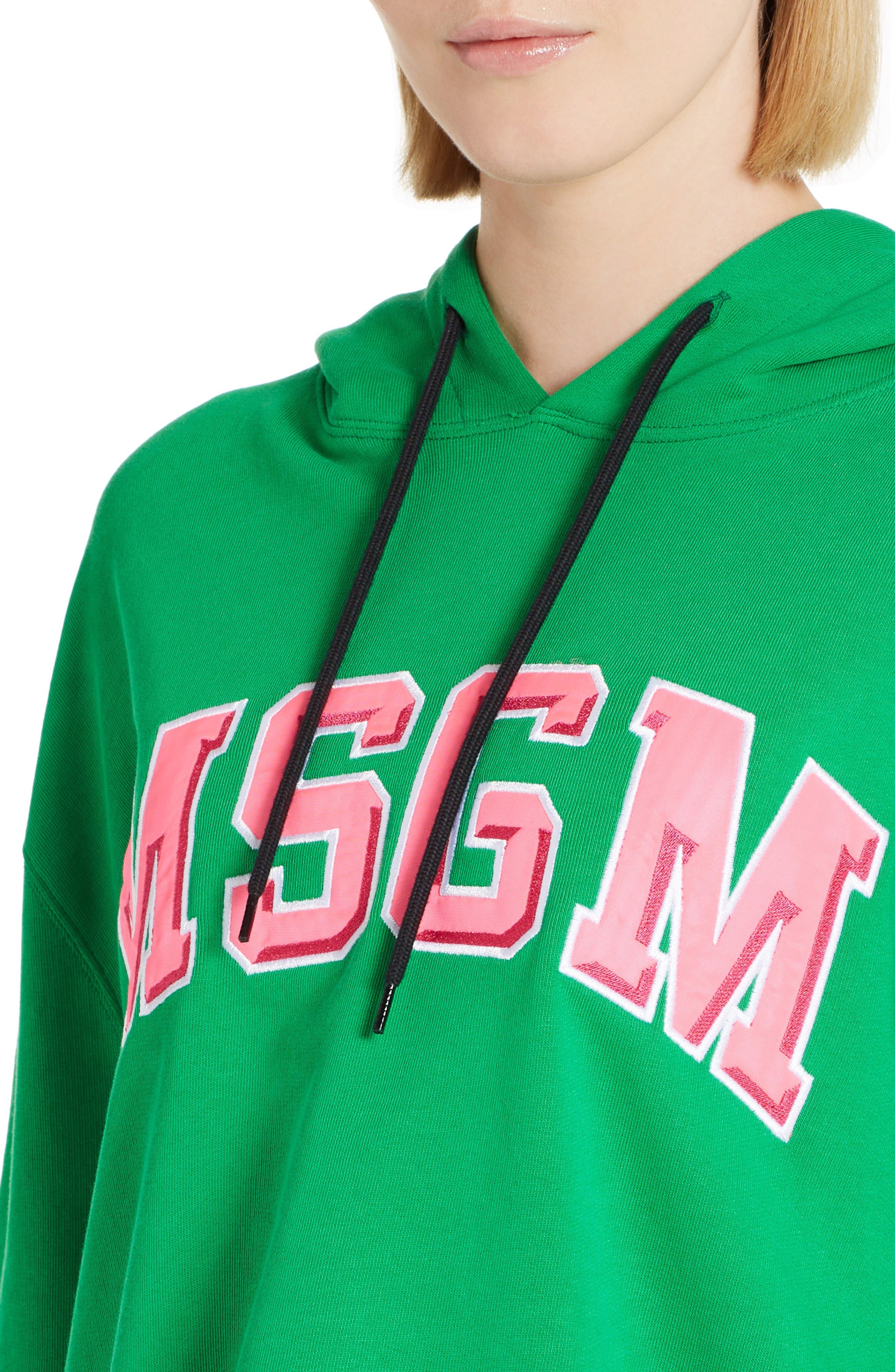 Logo Crop Cotton Hoodie,                             Alternate thumbnail 4, color,                             Green 36