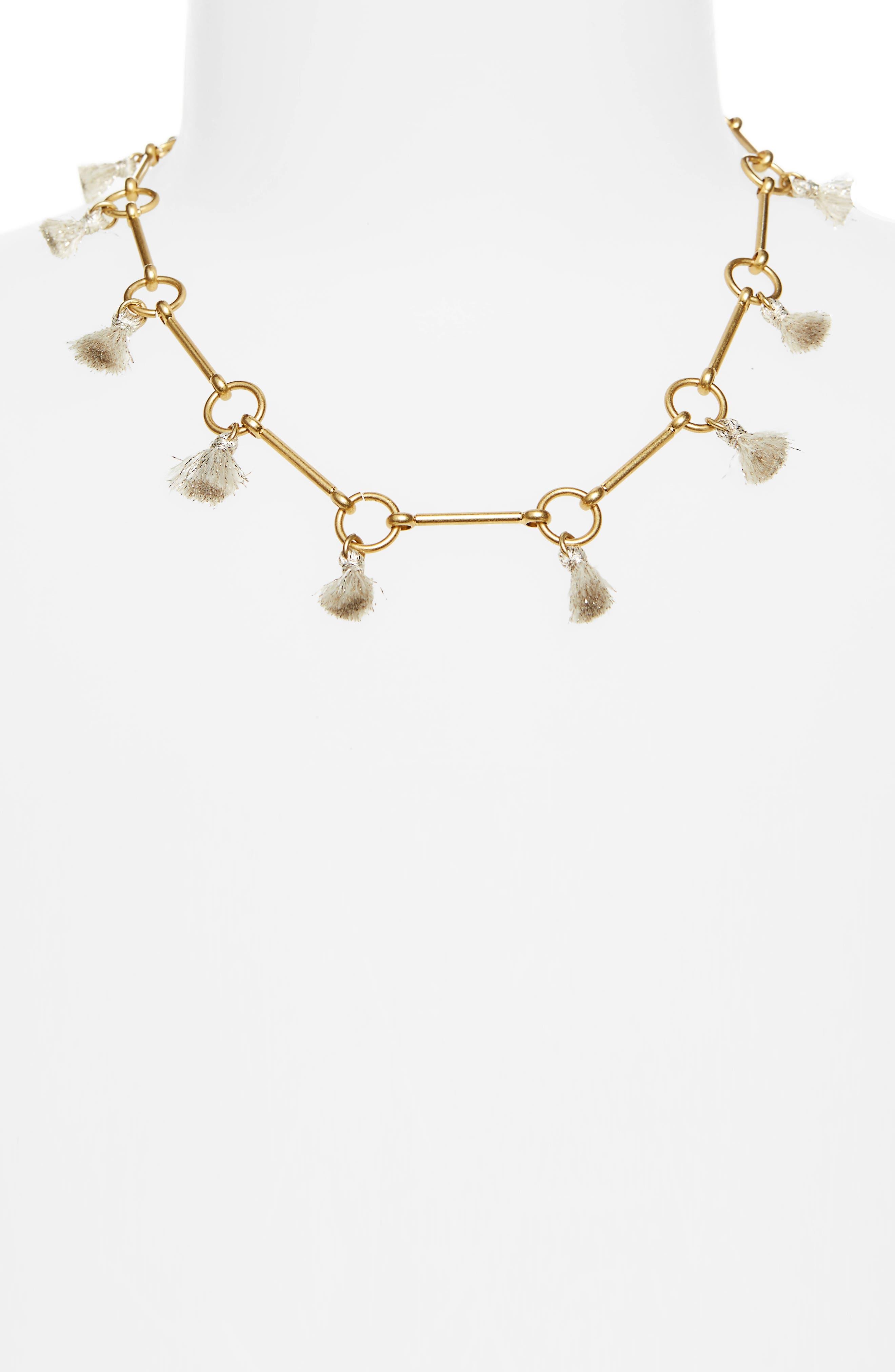 Tassel Link Necklace,                         Main,                         color, Champagne