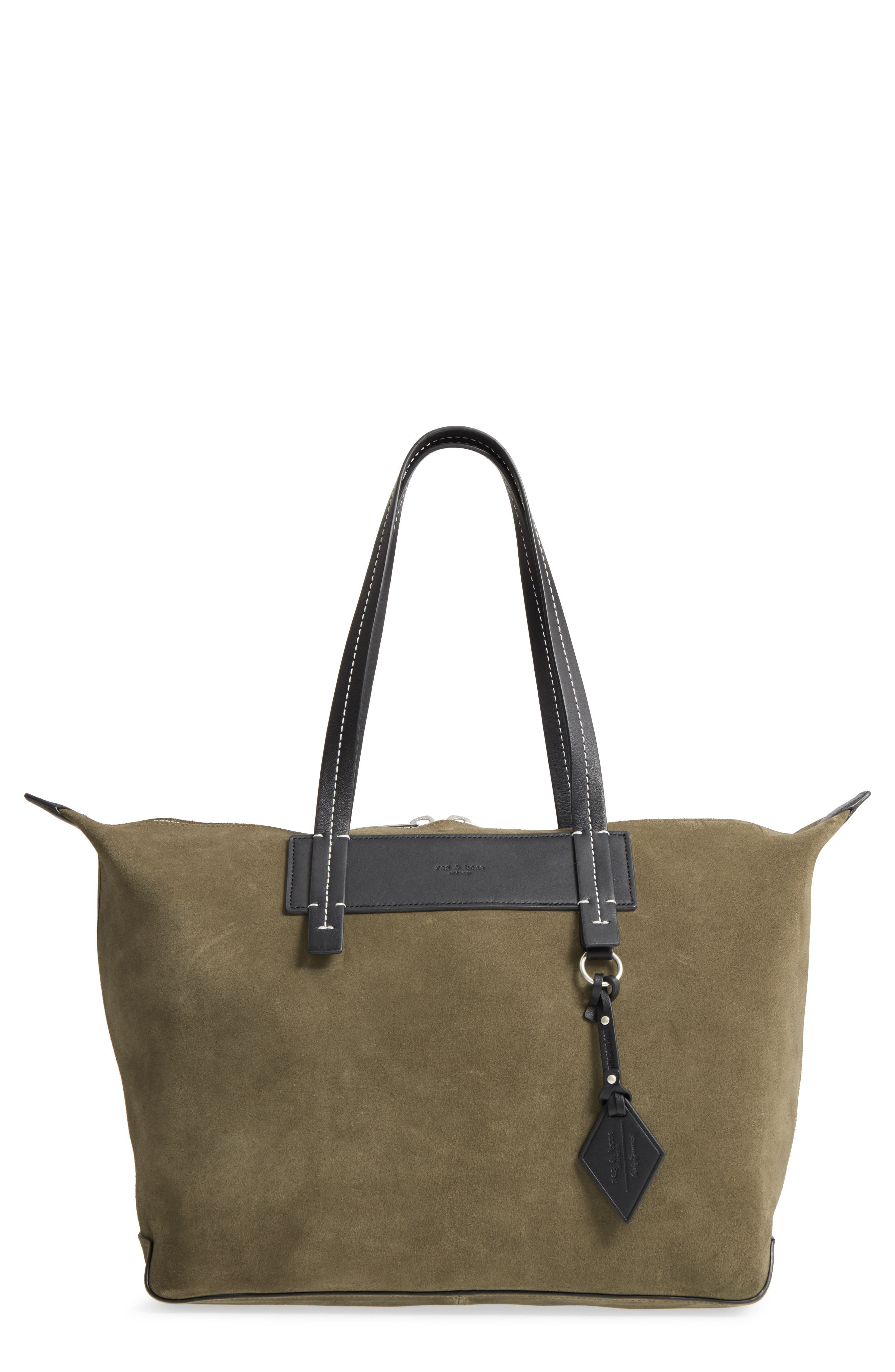 Compass Everyday Leather Tote,                             Main thumbnail 1, color,                             Olive Night Quilt