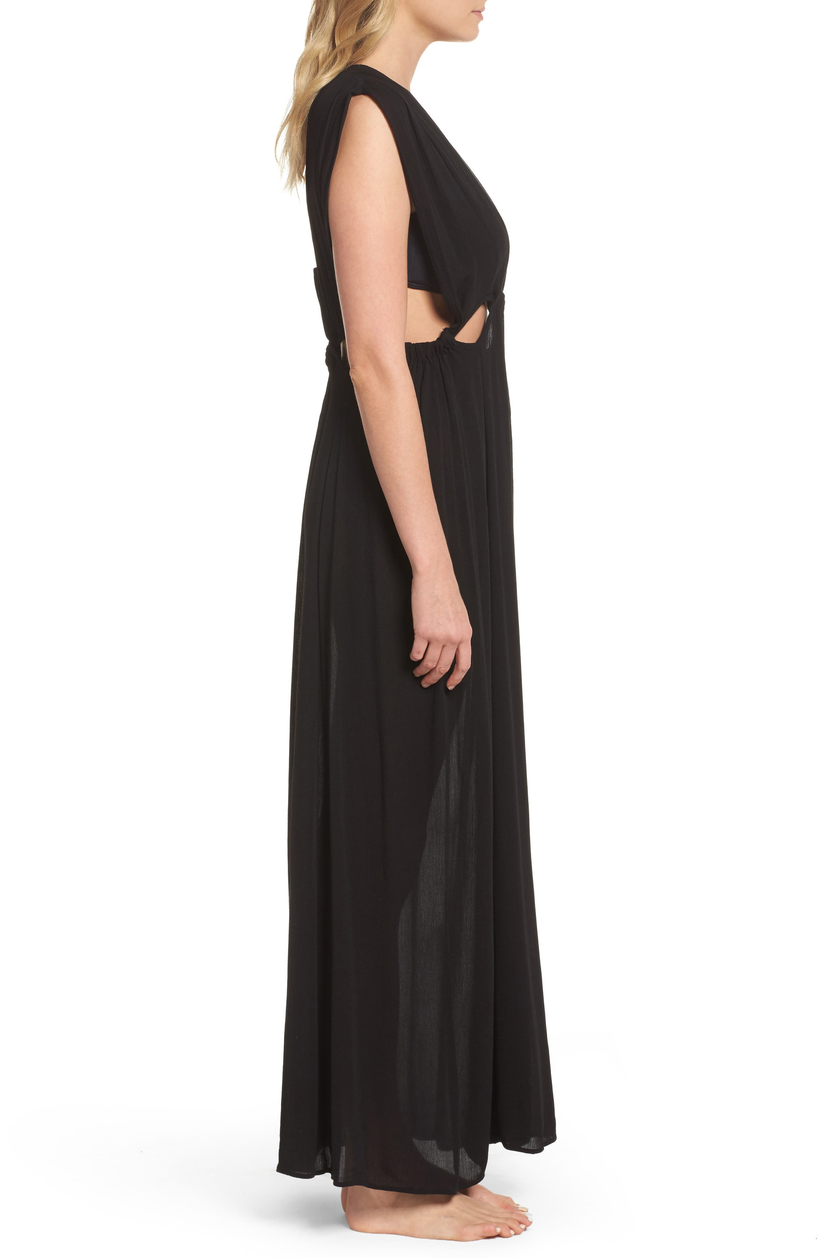 Cutout Maxi Cover-Up Dress,                             Alternate thumbnail 3, color,                             Black