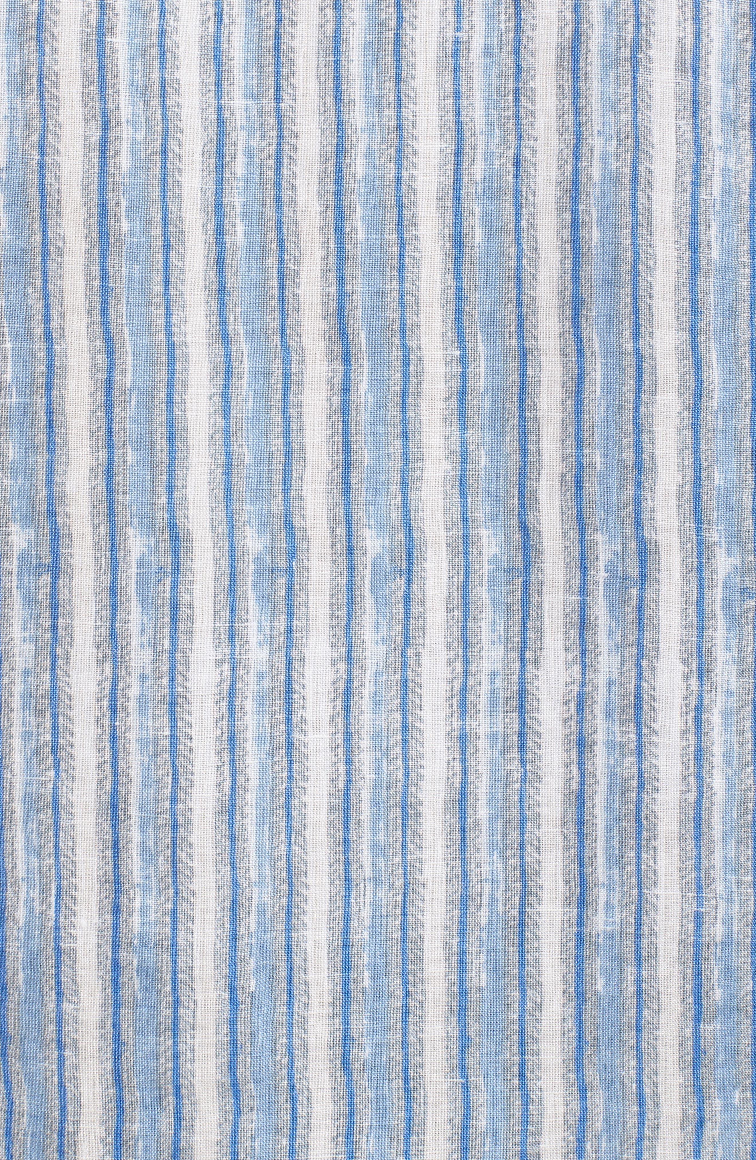 Along Shore Stripe Linen Sport Shirt,                             Alternate thumbnail 5, color,                             Fjord