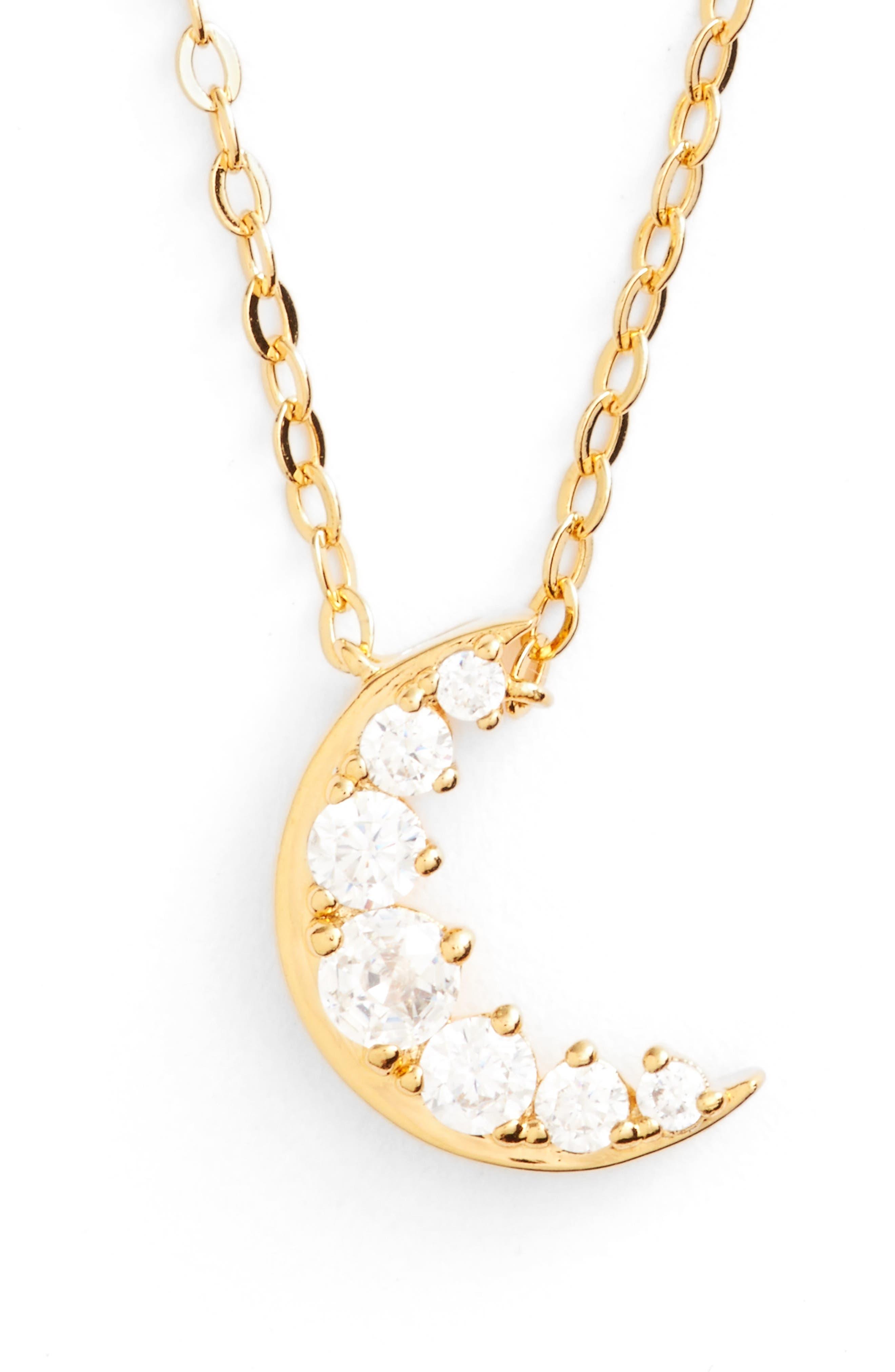 Nadri Reminisce Moon Pendant Necklace