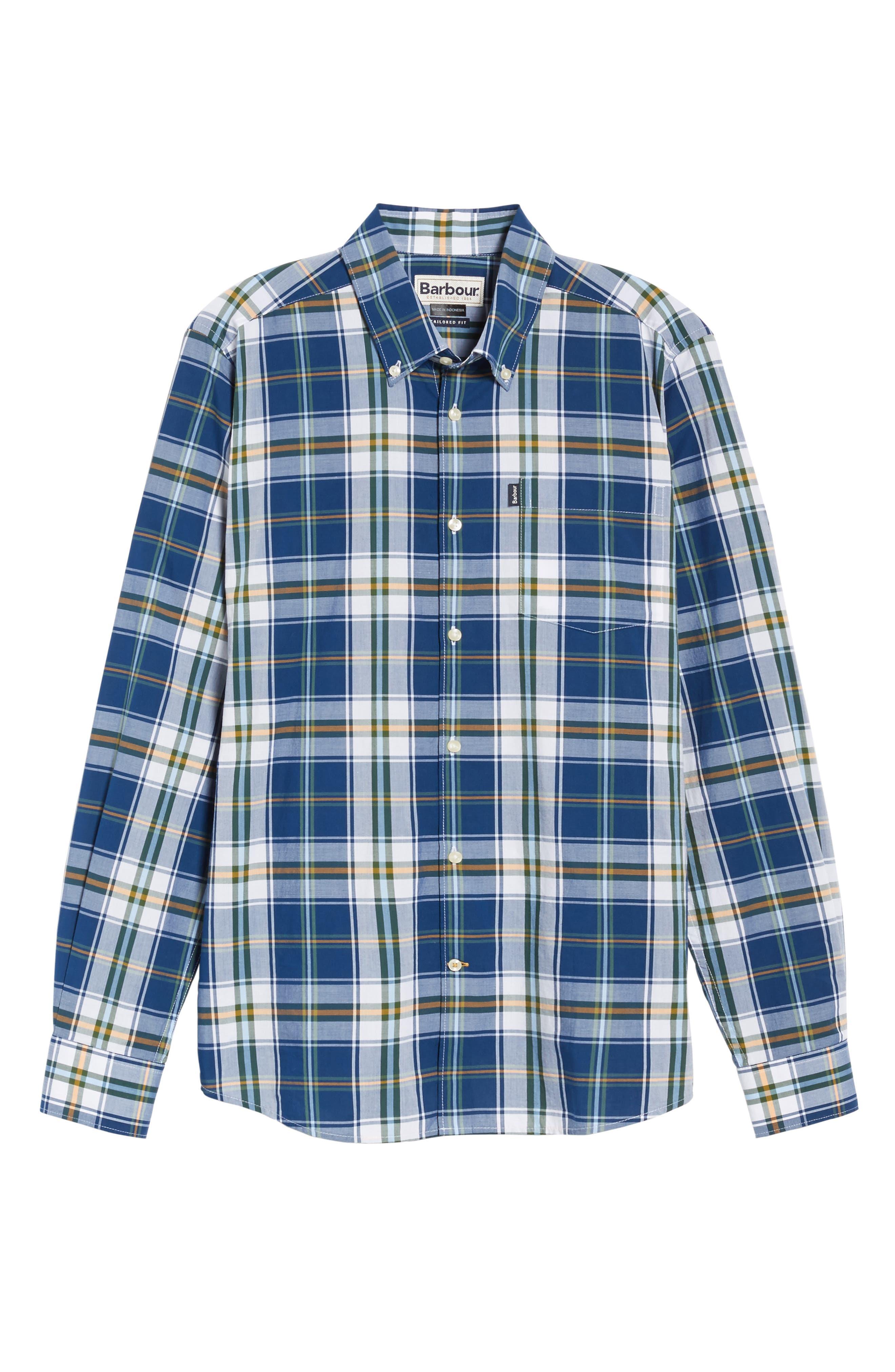 Jeff Trim Fit Plaid Sport Shirt,                             Alternate thumbnail 6, color,                             Deep Blue